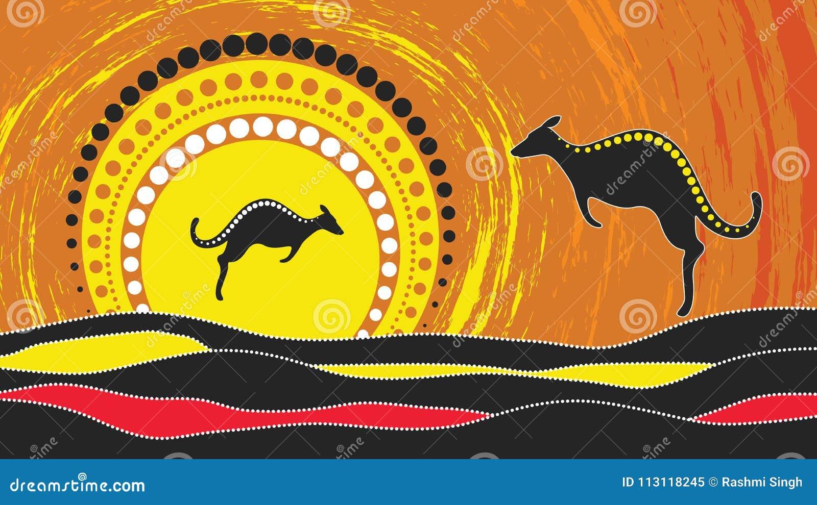 Pintura aborígene do vetor da arte com canguru Baseado no estilo aborígene do fundo do ponto da paisagem
