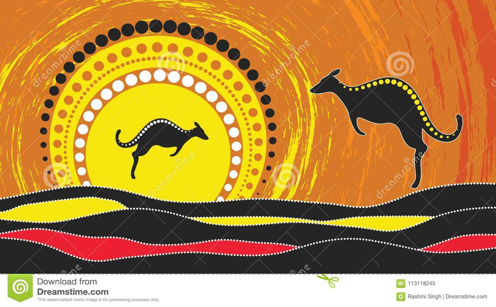 Pintura aborigen del vector del arte con el canguro De acuerdo con el estilo aborigen del fondo del punto del paisaje