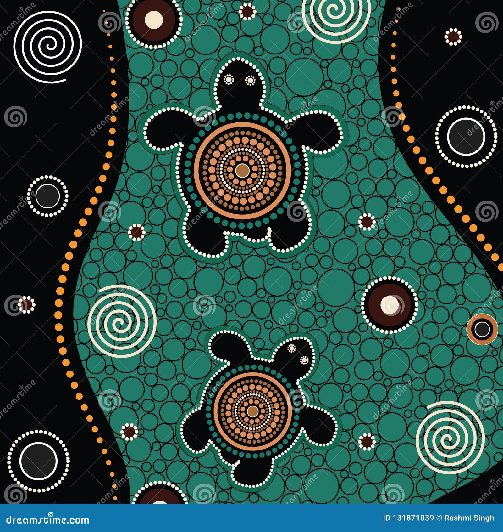Pintura aborigen del vector del arte del punto
