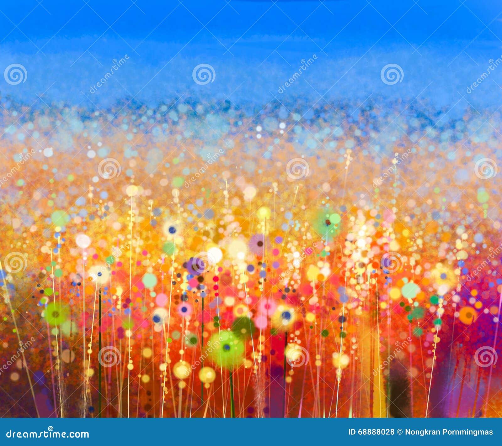 Pintura abstracta de la acuarela del campo de flor