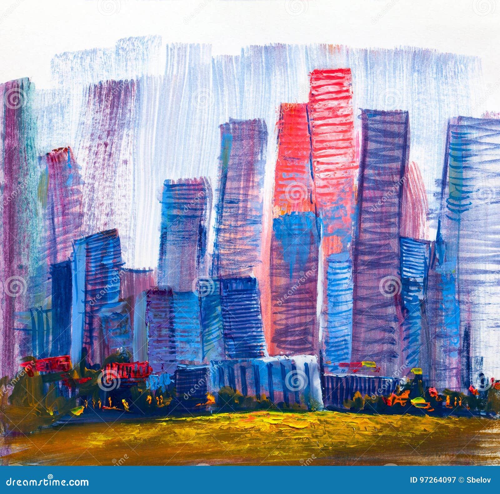 Pintura Abstracta De Rascacielos Urbanos Stock de ilustración ...