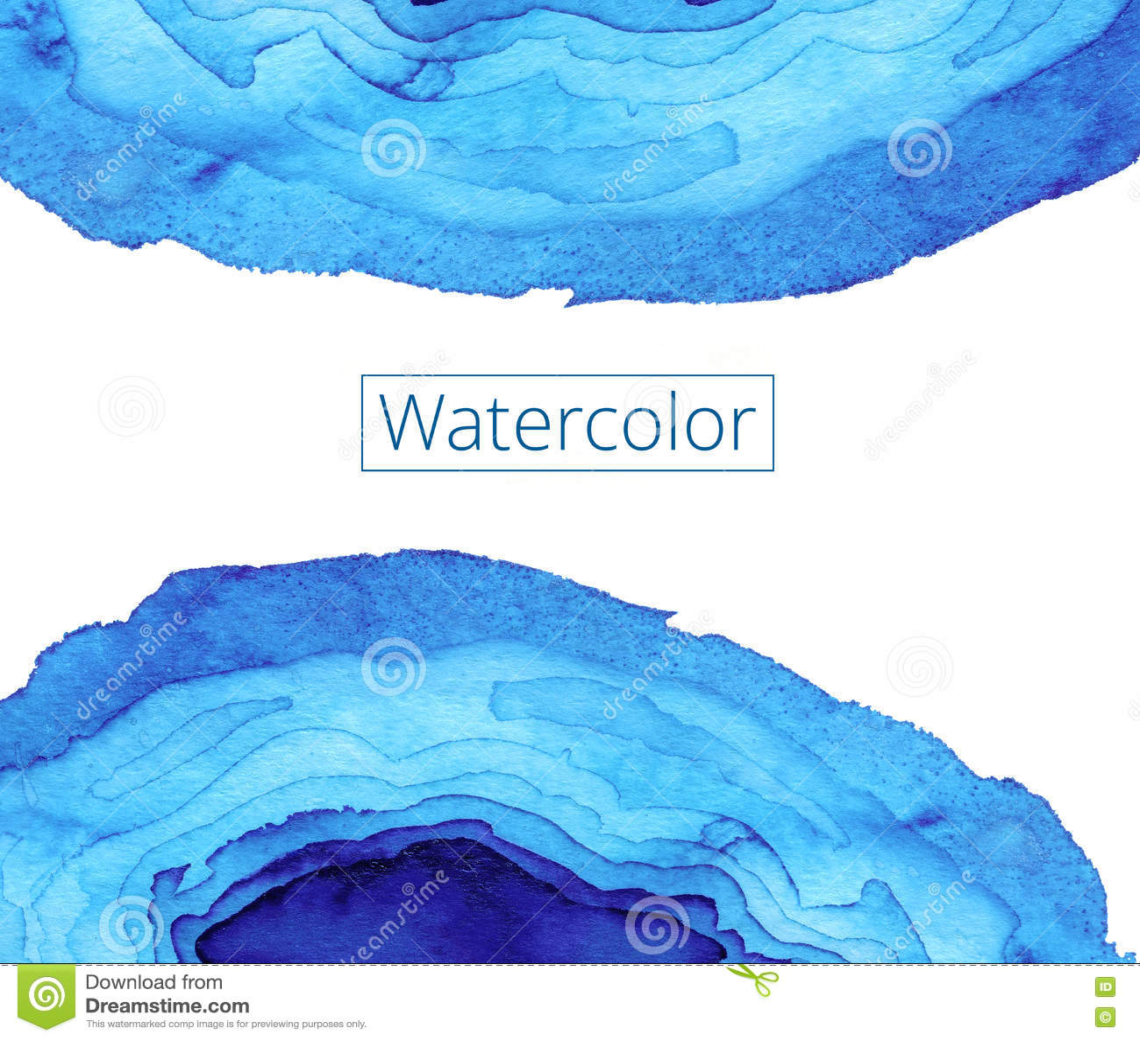 Pintura abstrata da aguarela Ondas do vitral de Art Nouveau Teste padrão ondulado azul brilhante Loja das texturas dos fundos