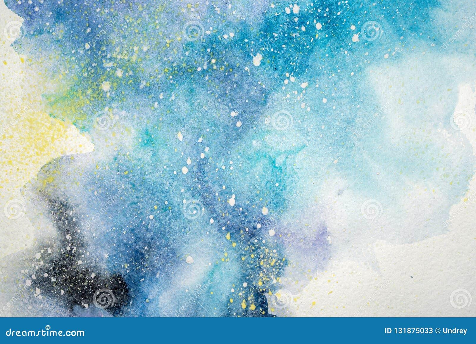 Pintura abstrata da aquarela Desenho da cor de água Fundo colorido da textura das manchas