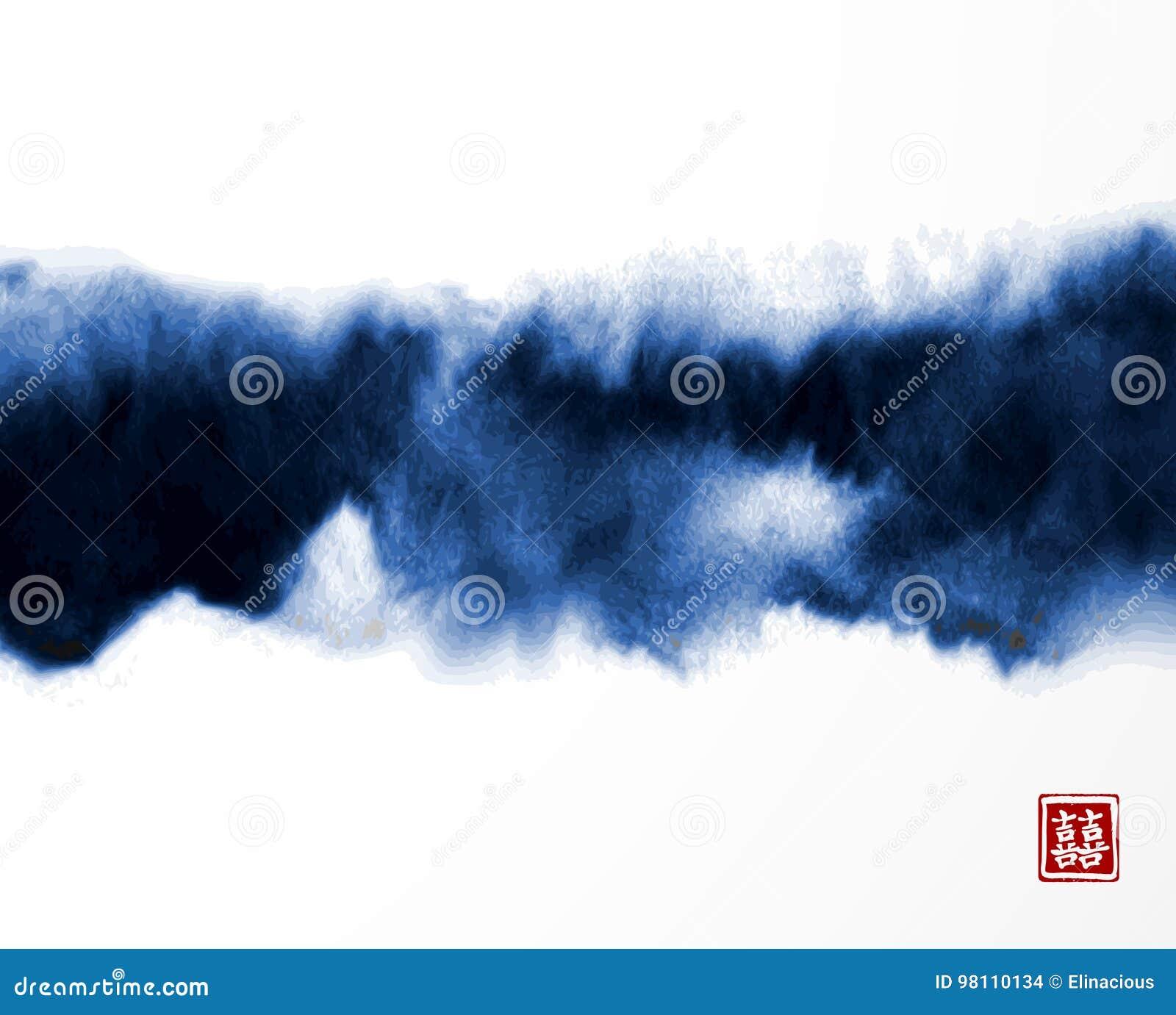 Pintura abstrata da lavagem da tinta azul no estilo asiático do leste no fundo branco Textura de Grunge