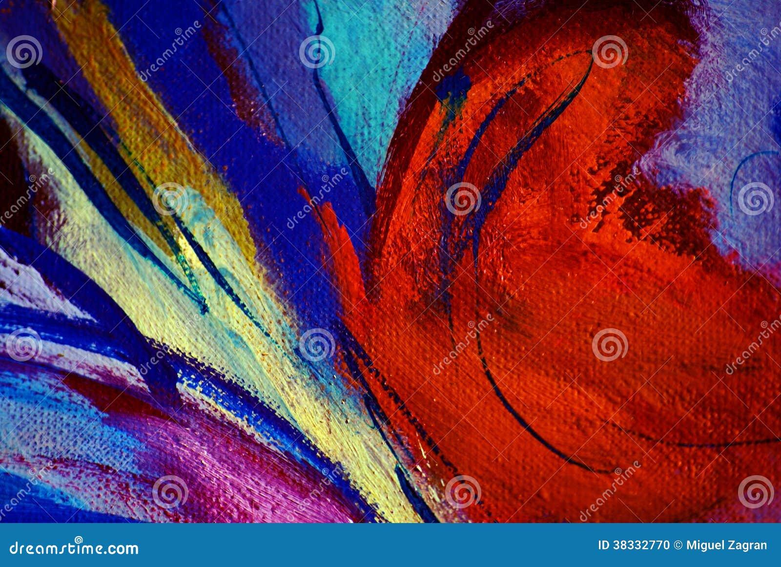 Pintura abstrata pelo óleo na lona, ilustração, fundo