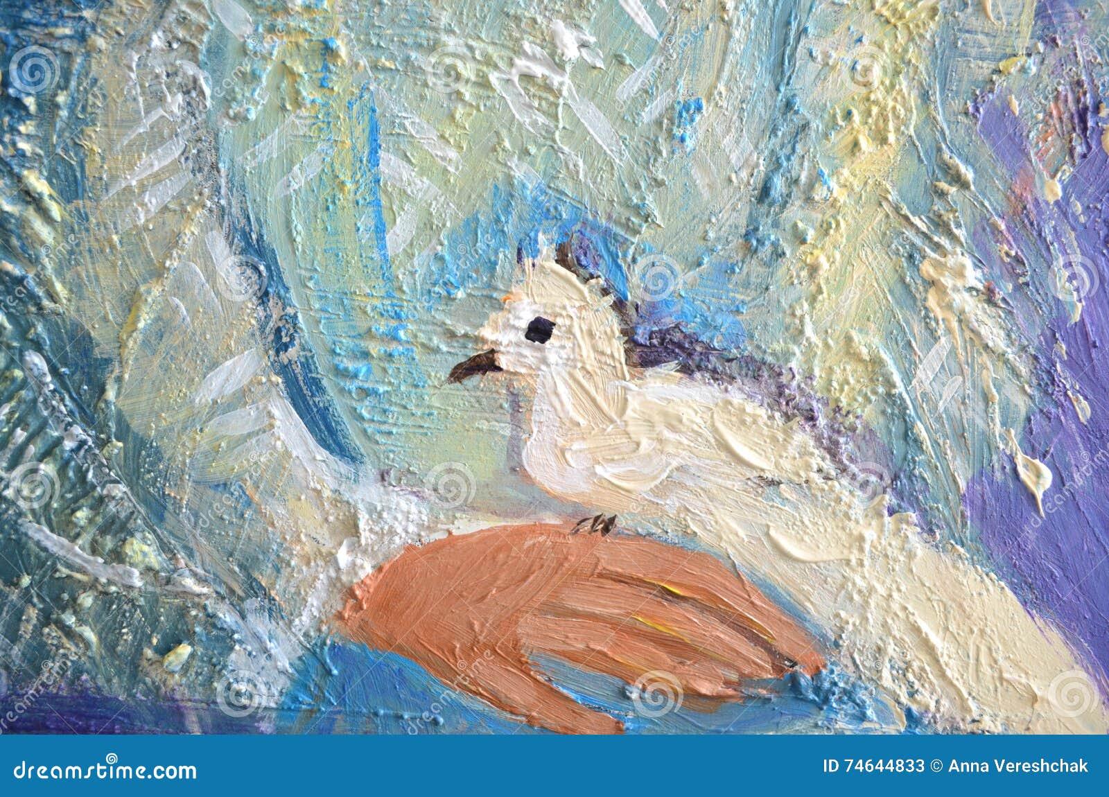 A pintura acrílica abstrata com branco mergulhou em uma mão Pombo que senta-se em uma palma