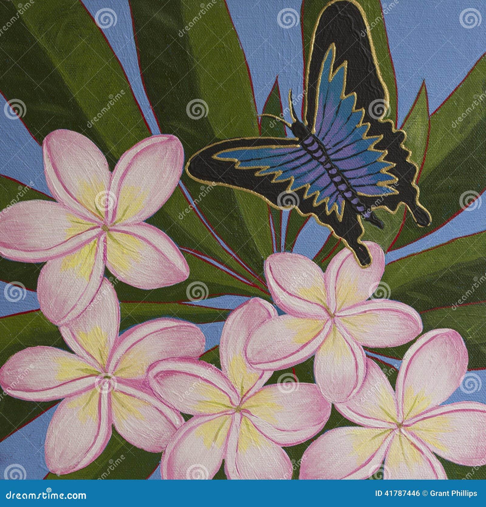 Pintura acrílica original - Ulysses Butterfly & Frangipani
