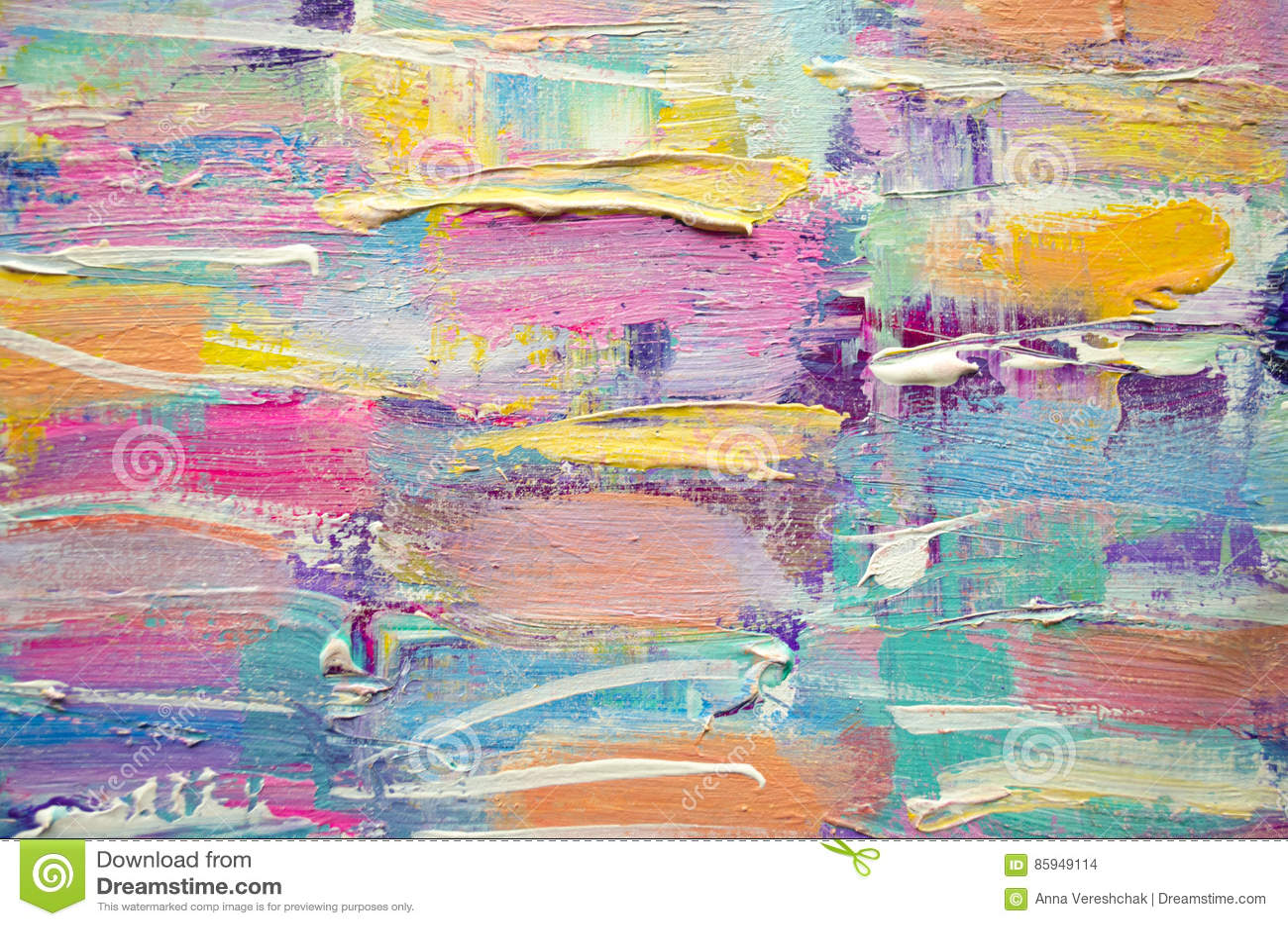 Pintura acrílica tirada mão Fundo da arte abstrata Pintura acrílica na lona Textura da cor Fragmento da arte finala brushstrokes