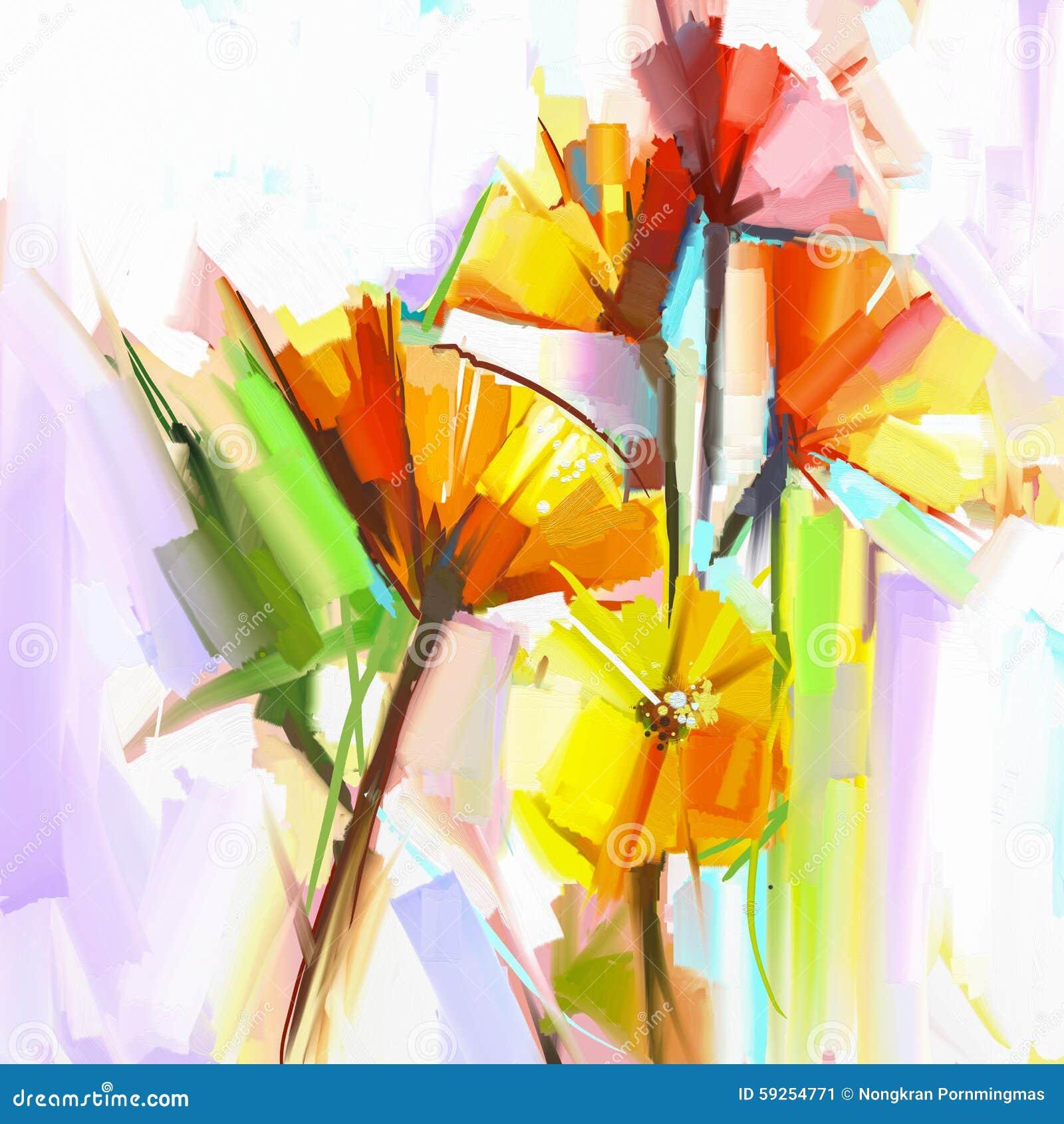 Pintura al óleo abstracta de las flores de la primavera Todavía vida del amarillo