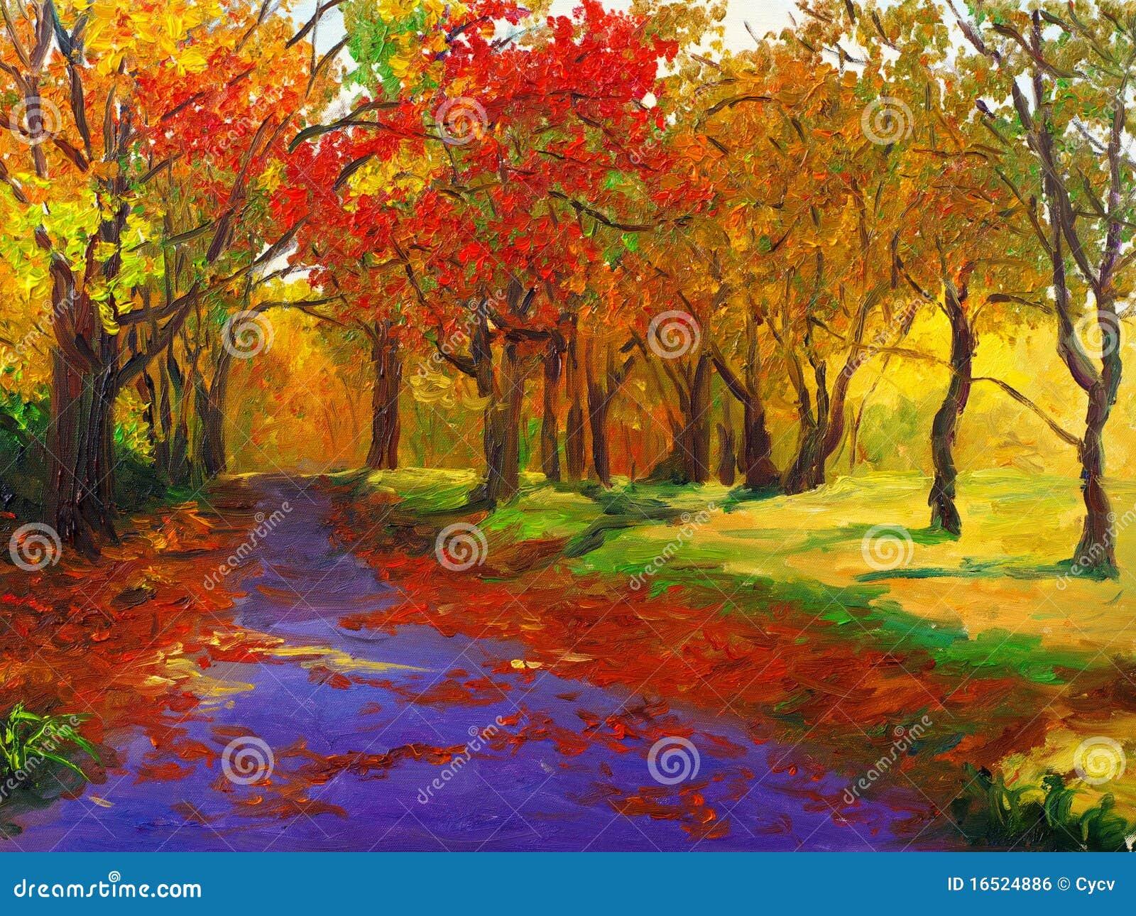 Pintura al óleo - arce en otoño