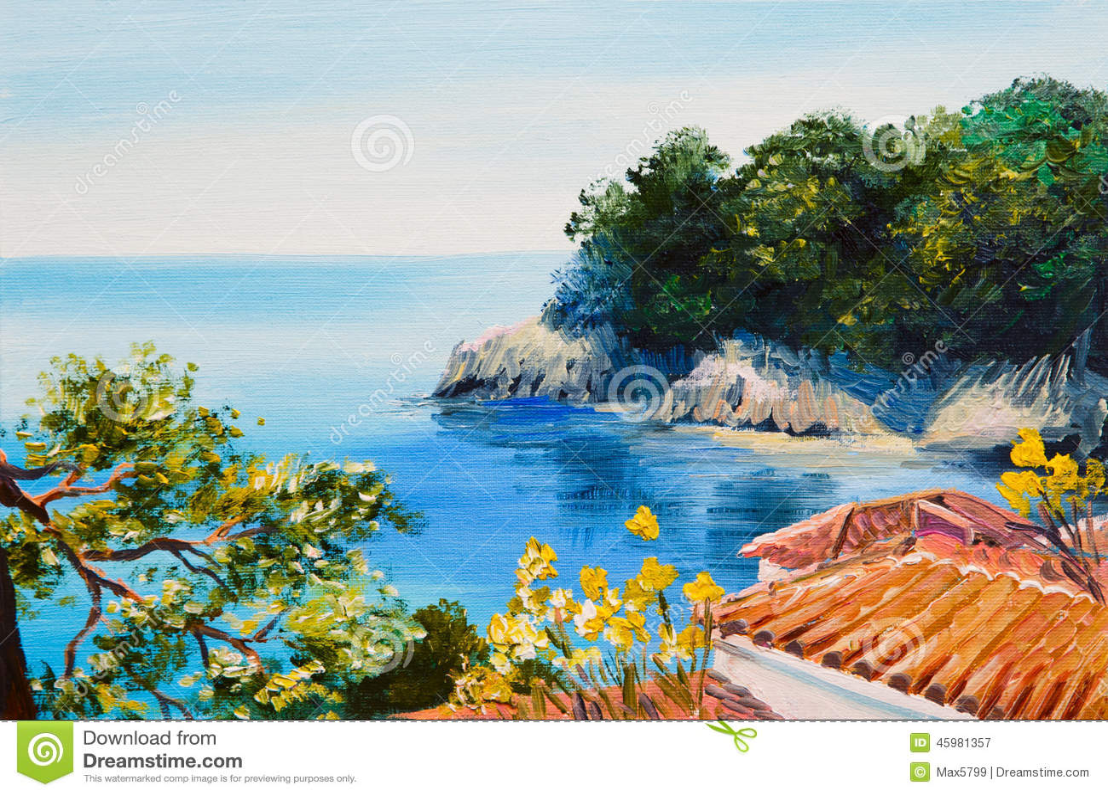 Pintura al leo casa cerca del mar stock de ilustraci n for Casas jardin del mar