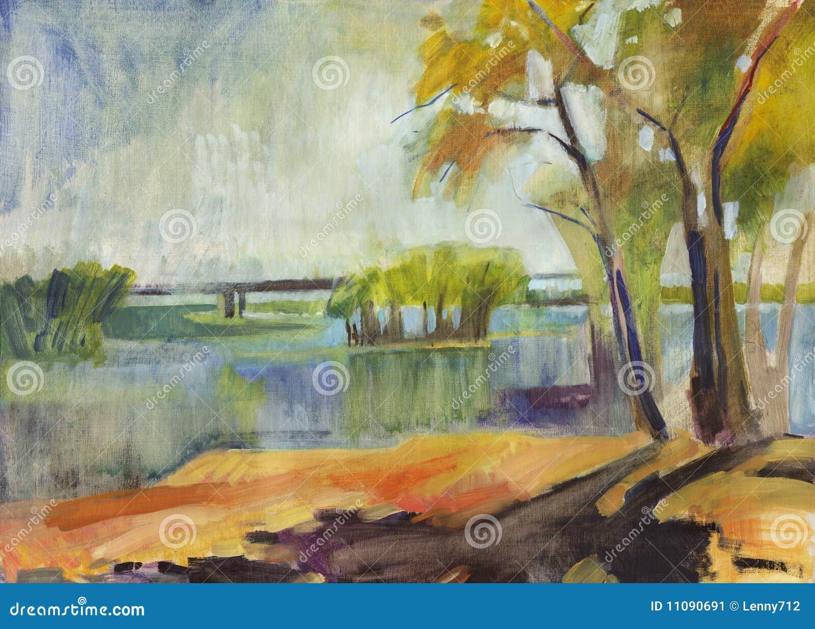 Pintura al óleo del paisaje del otoño