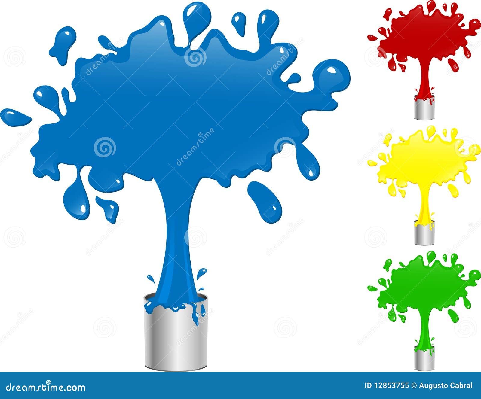 Pintura azul, roja, amarilla y verde