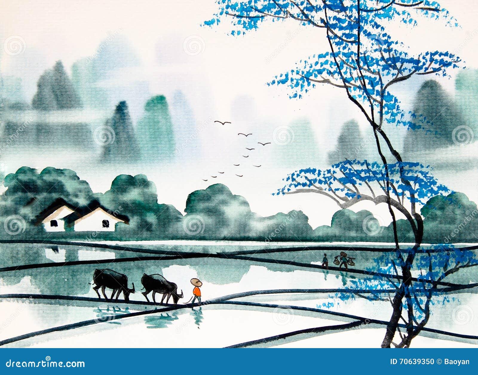Pintura china de la acuarela del paisaje