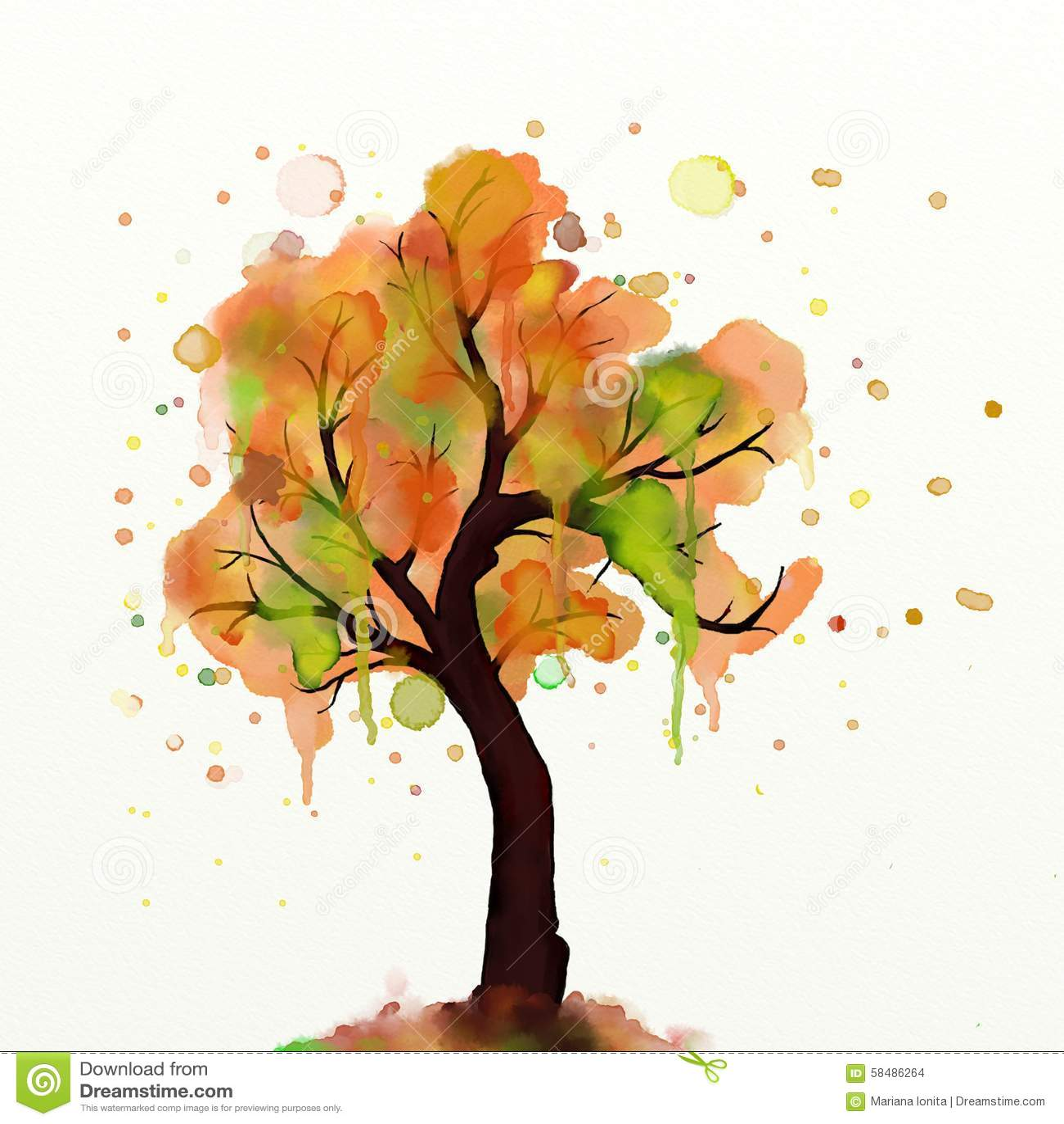Pintura da árvore do outono