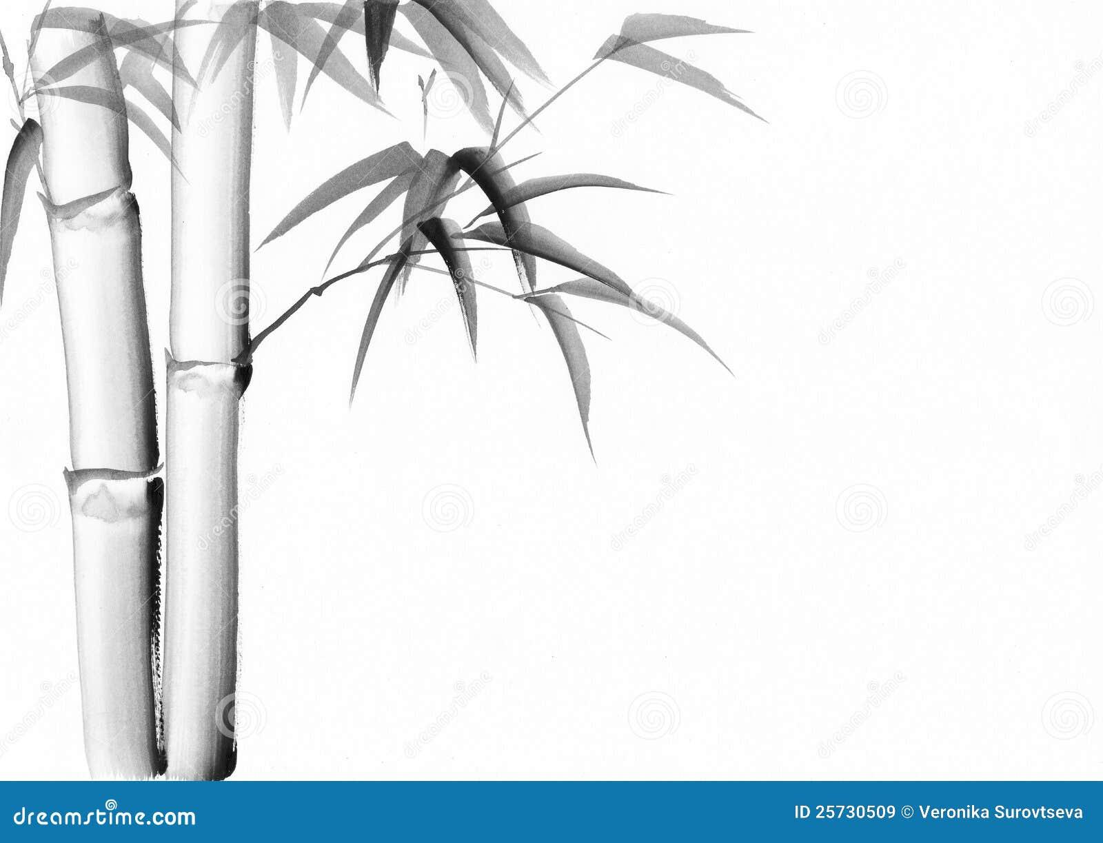 Pintura da aguarela do bambu imagens de stock royalty free for Color bambu pintura