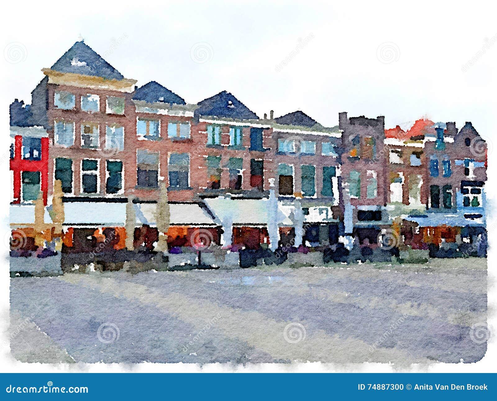 Pintura da aquarela da fileira das casas na louça de Delft nos Países Baixos