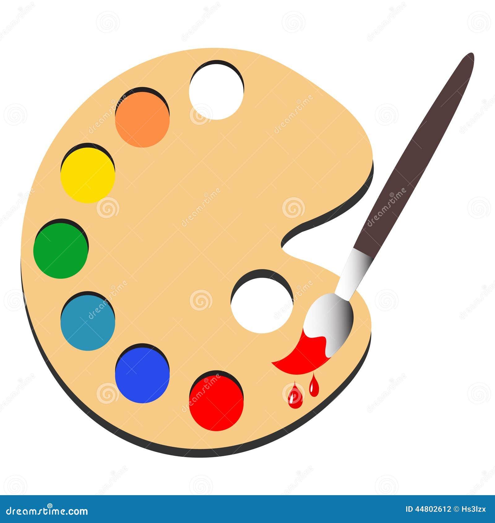 Pintura da escova com vetor da pintura da paleta - Paleta de pinturas ...