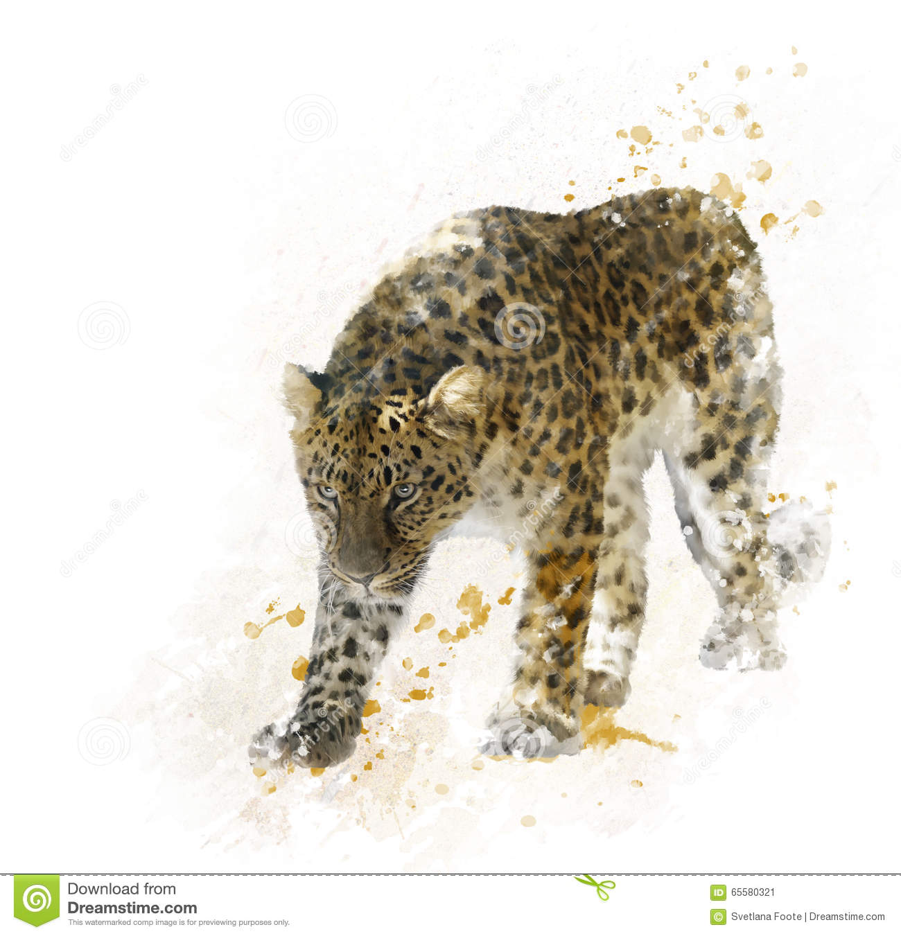 Pintura de Digitas do leopardo