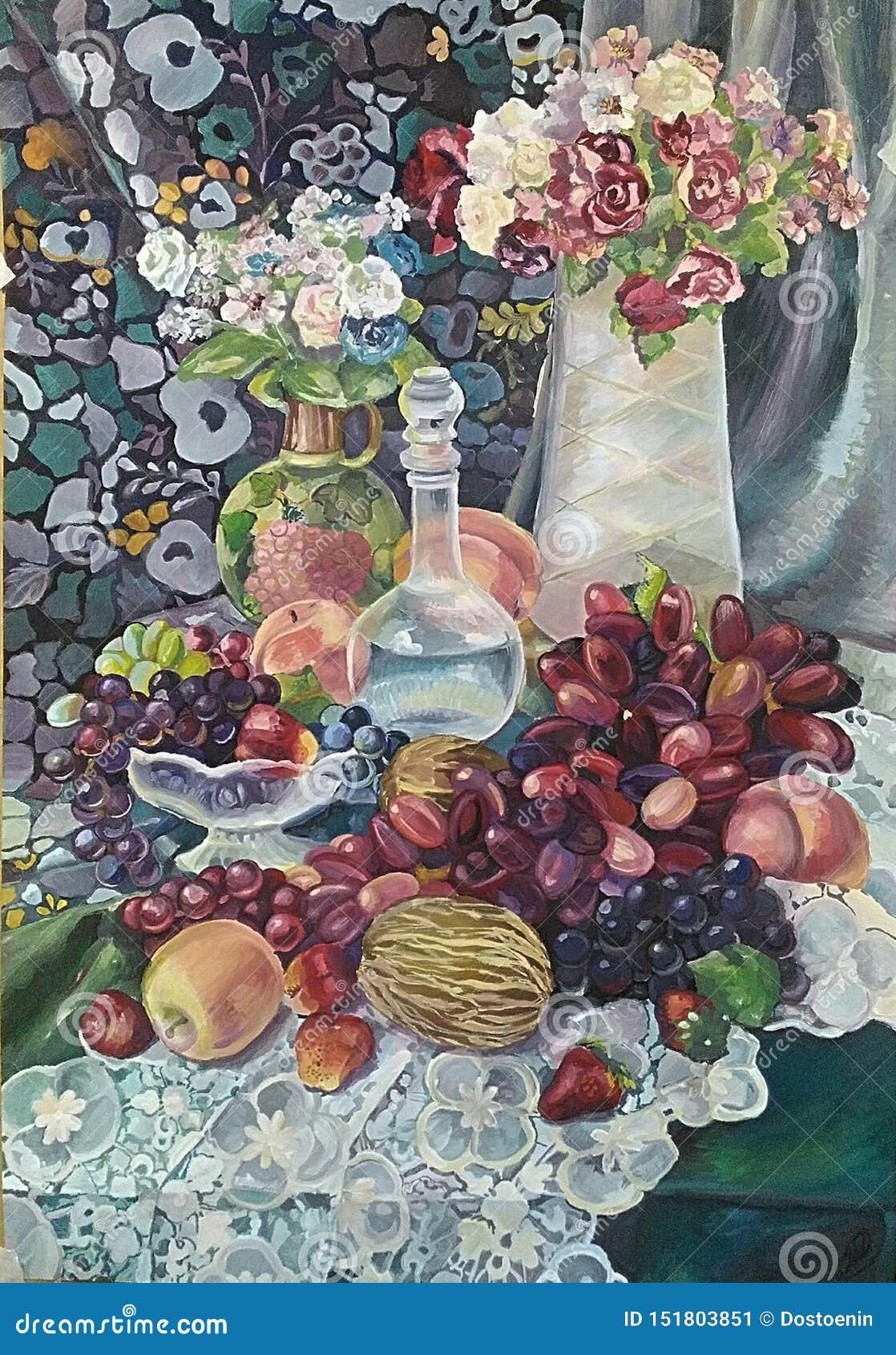 Pintura de la Aún-vida con el ramo y las frutas jugosas