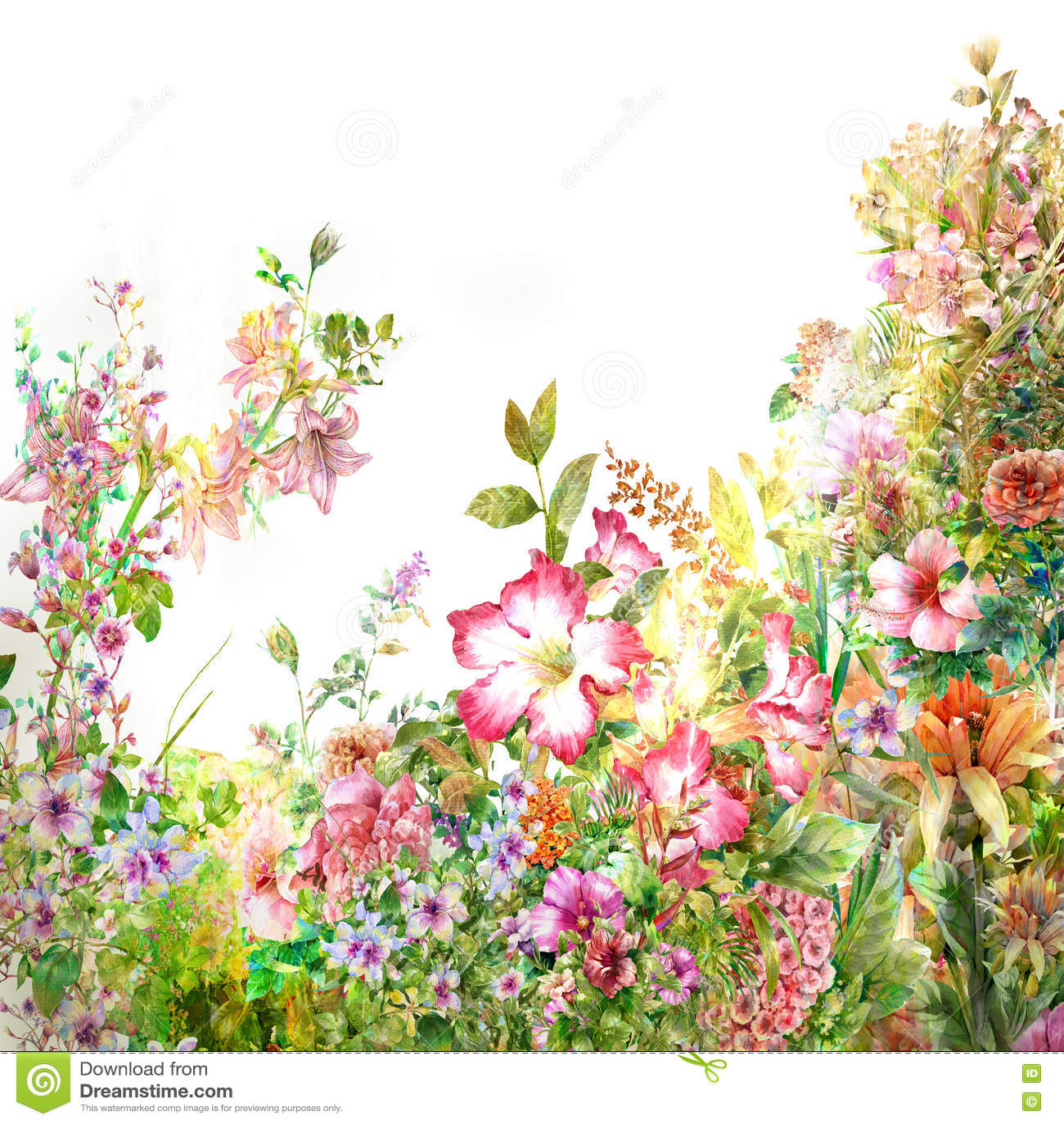 Pintura de la acuarela de hojas y de la flor