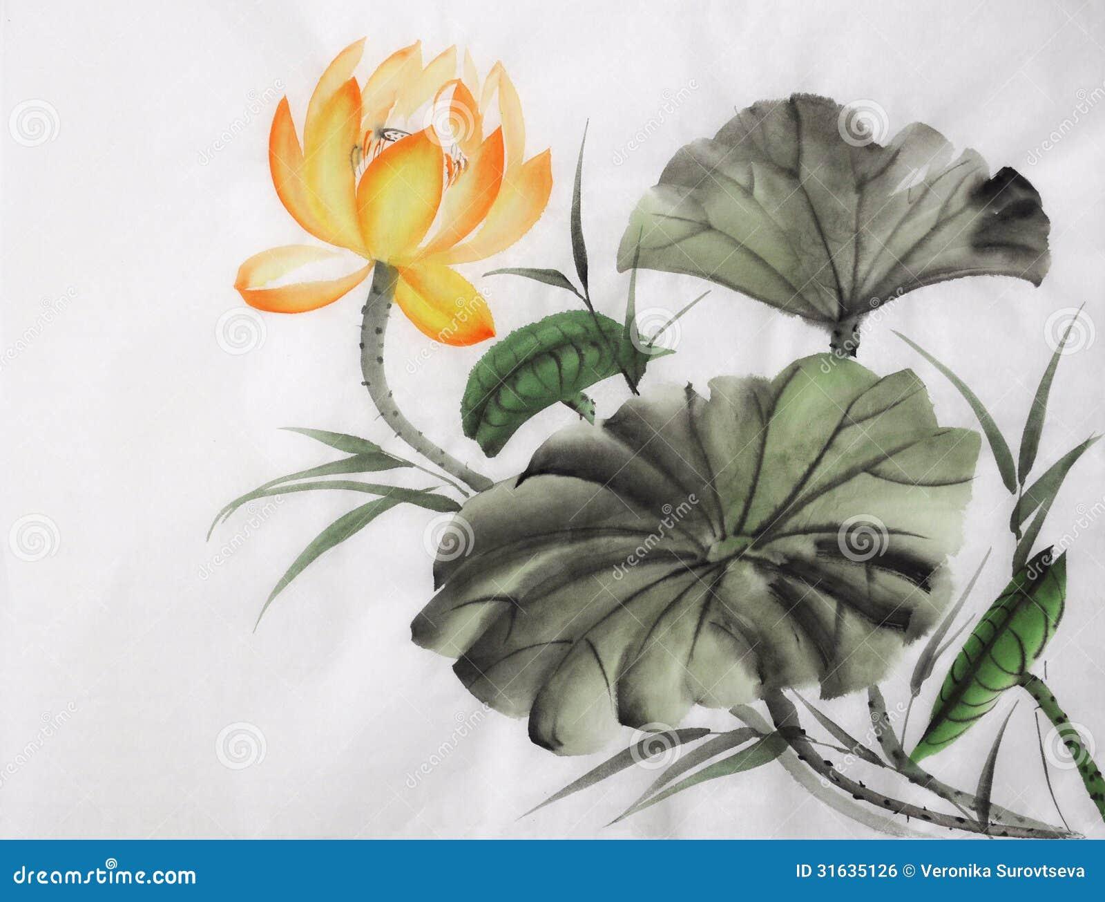 Pintura de la acuarela de la flor de loto amarilla