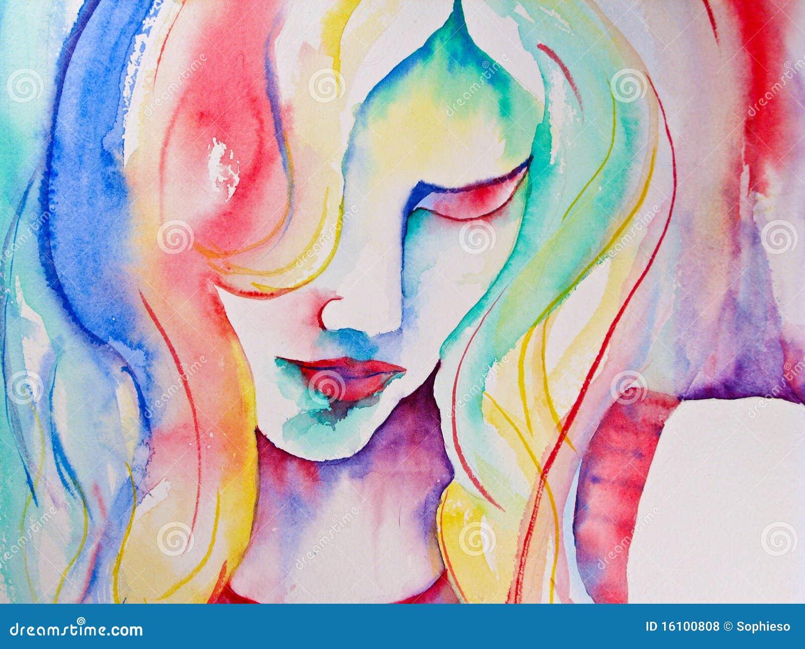 Pintura de la acuarela de la mujer que mira abajo