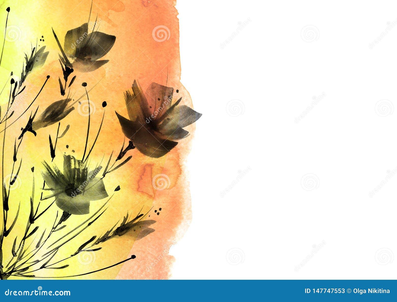 Pintura de la acuarela E Acuarela floral