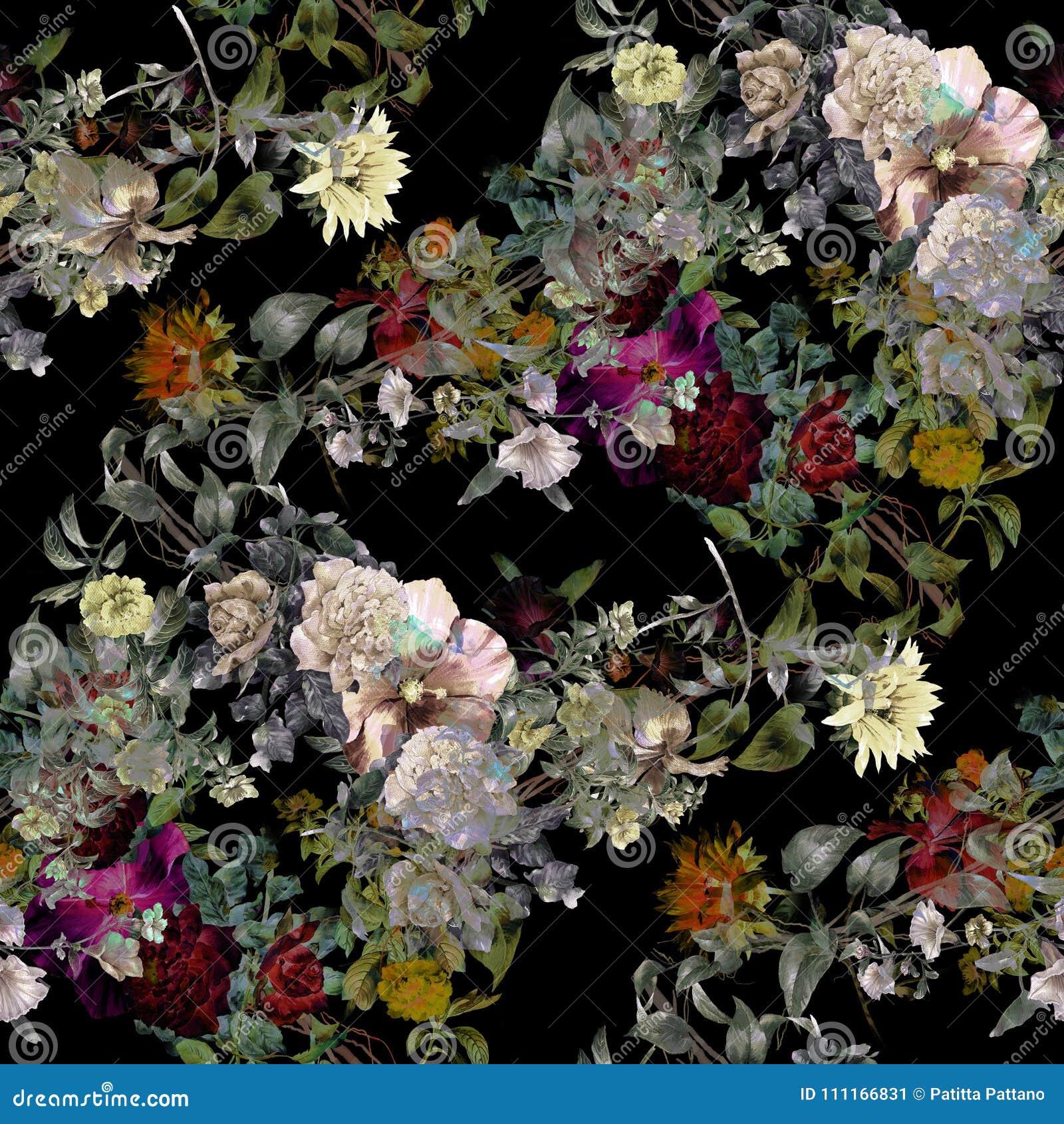 Pintura de la acuarela de la hoja y de flores, inconsútil