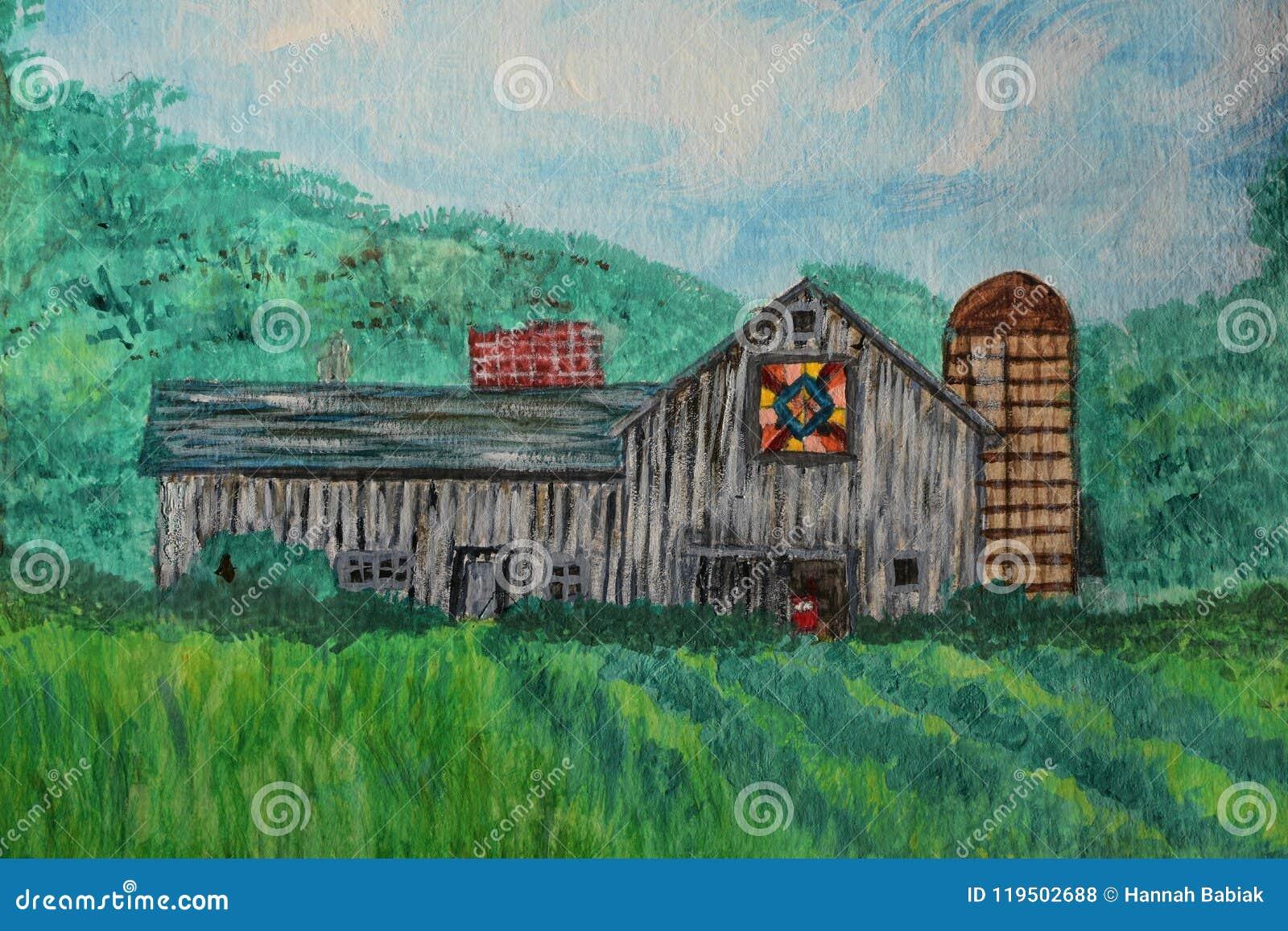 Pintura de la acuarela de un granero del edredón