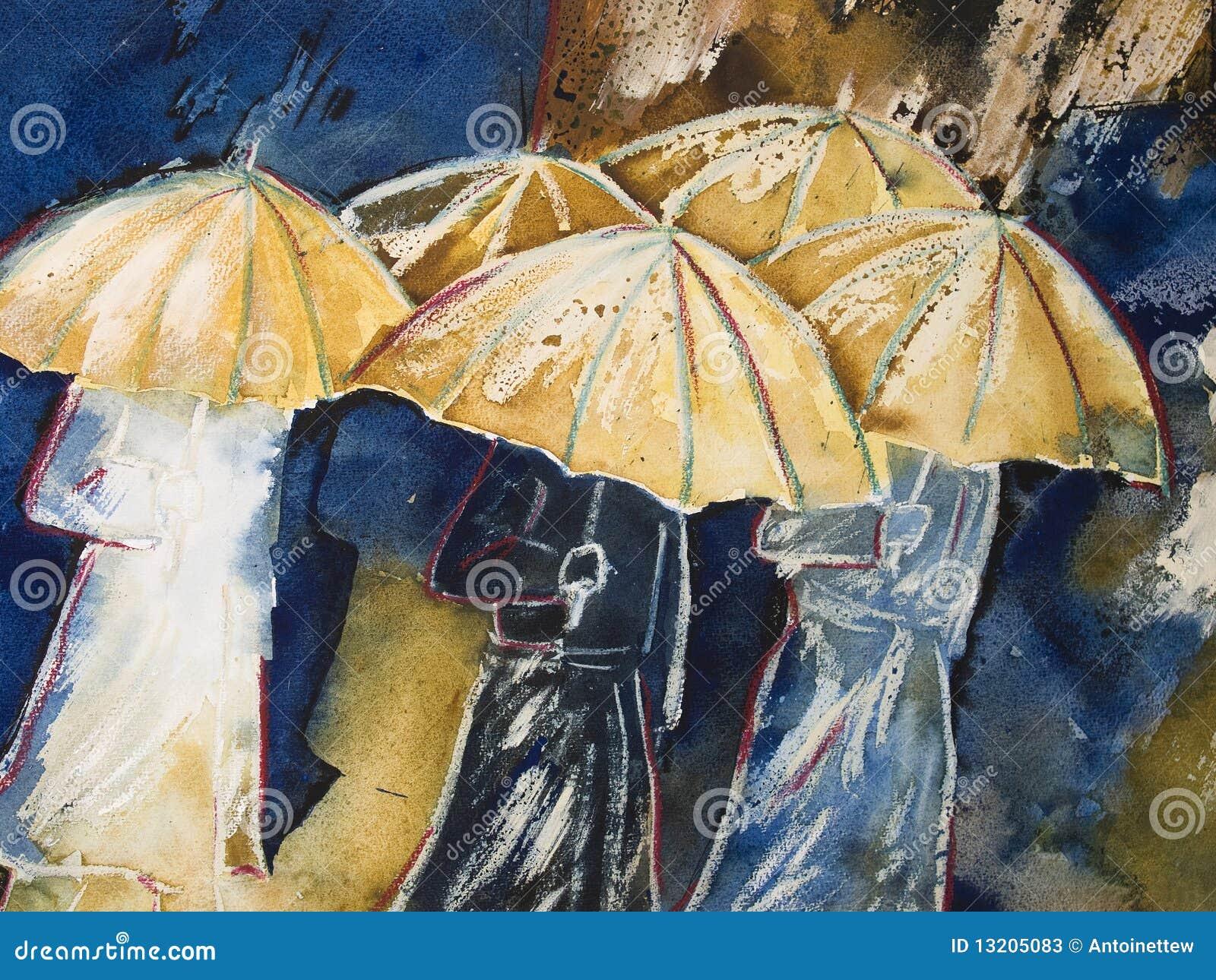 Pintura de la gente con el paraguas