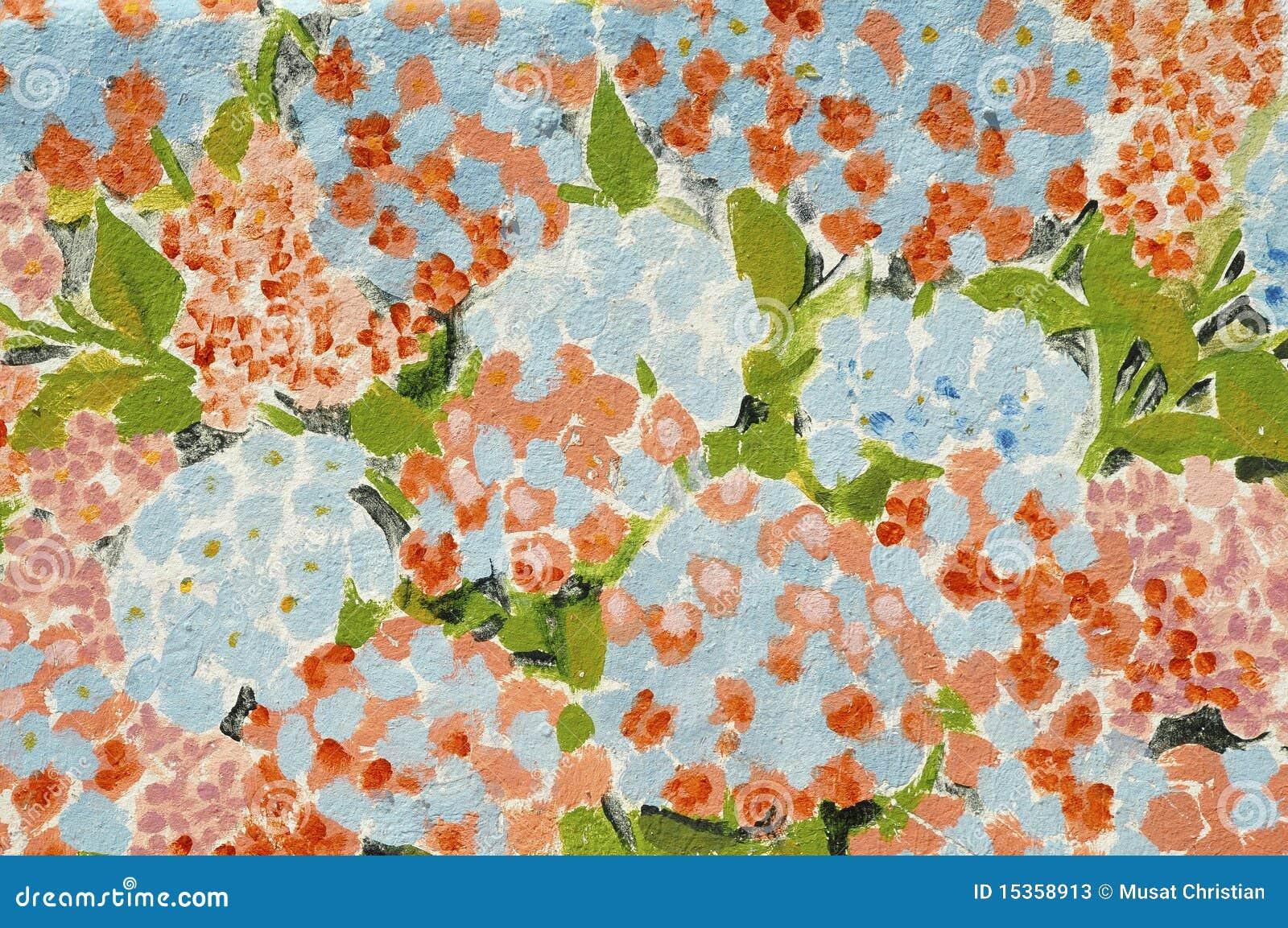 Pintura de las flores del hortensia