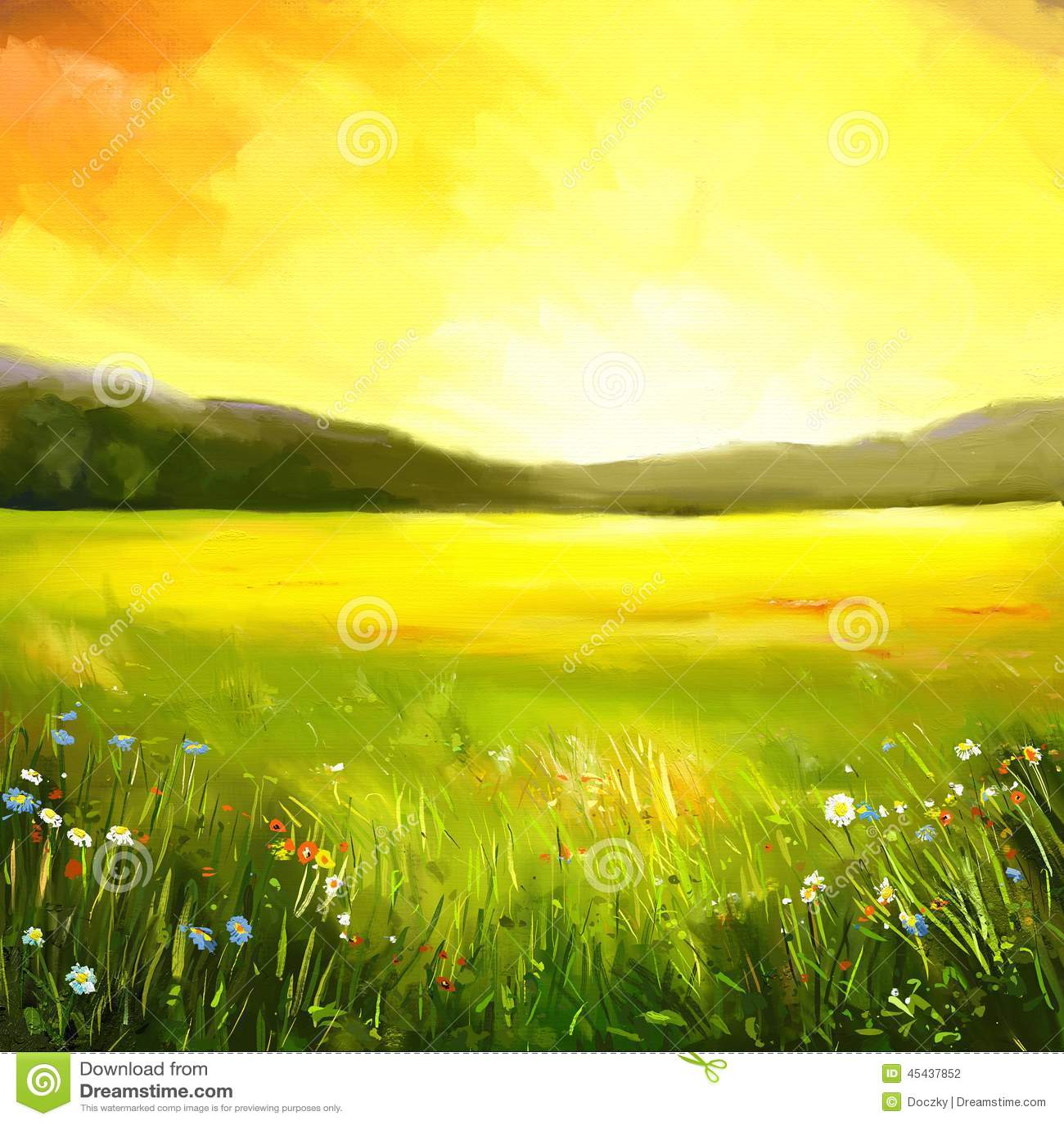 Pintura de paisagem do pôr do sol do outono