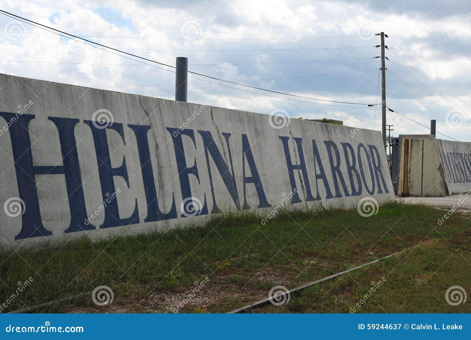 Pintura de pared de Helena Harbor en Helena Levee Walk, Helena Arkansas