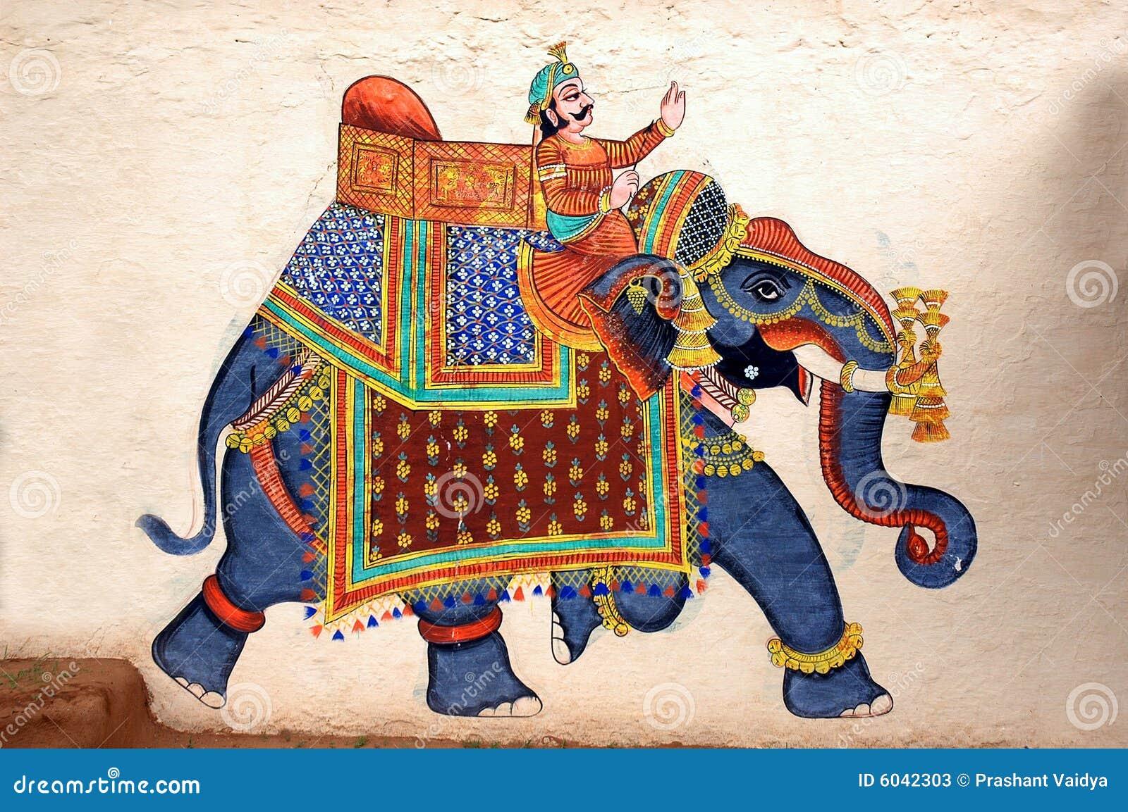 Pintura de pared del elefante en el palacio de la ciudad, Udaipur