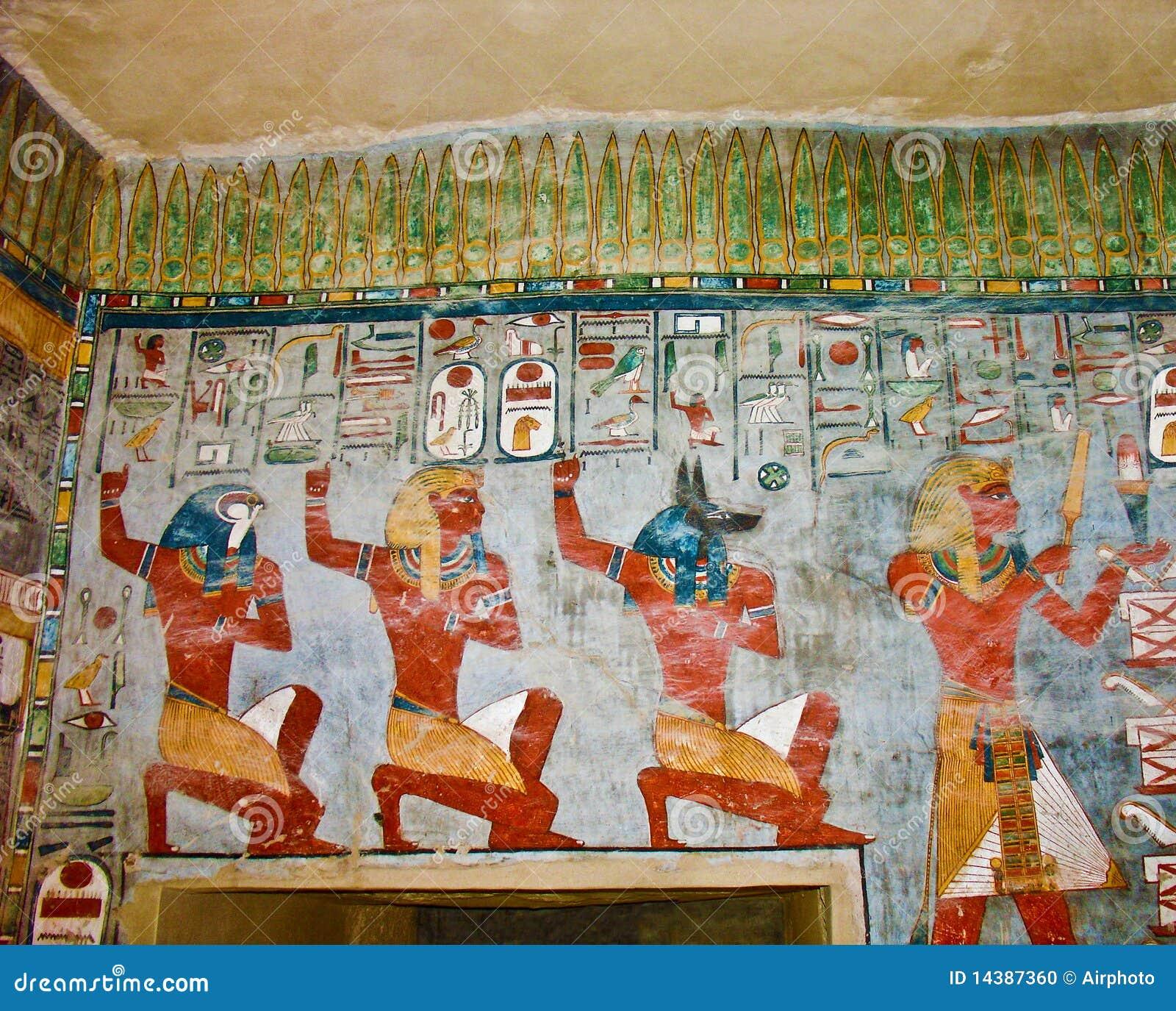 Pintura de pared egipcia antigua foto de archivo imagen - Pintura de pared ...