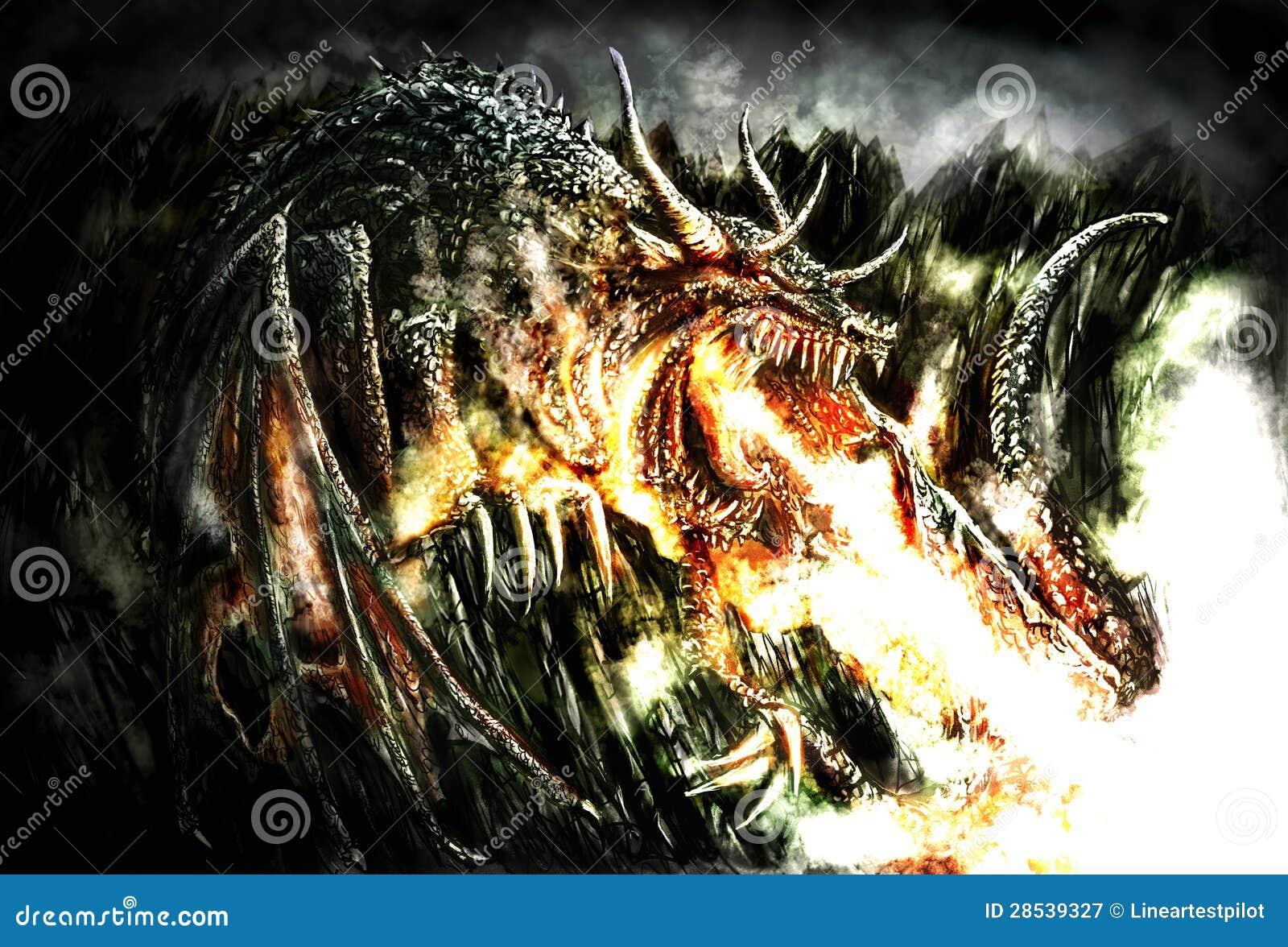 Pintura de um dragão dramático