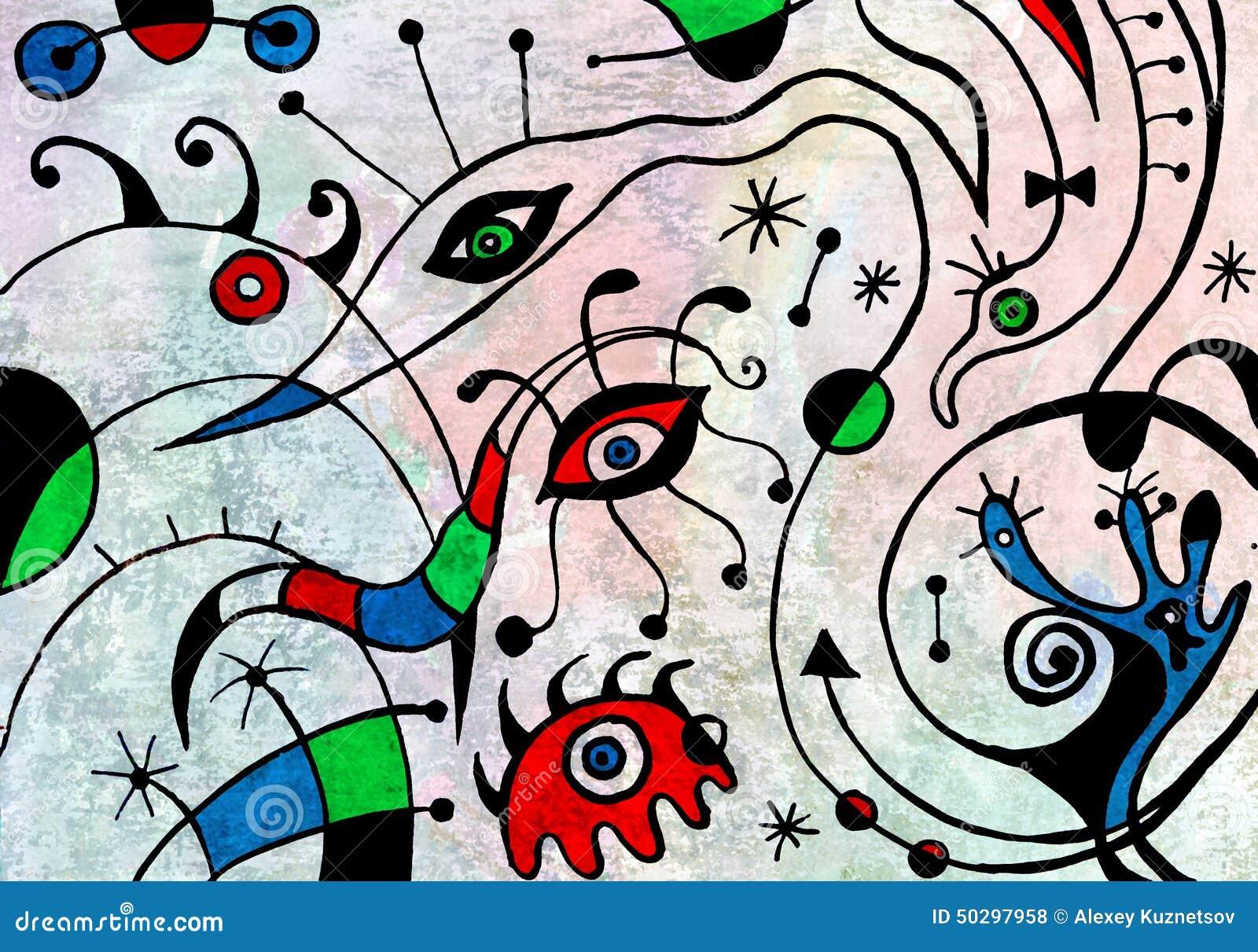 Pintura del arte abstracto con los pájaros fantásticos