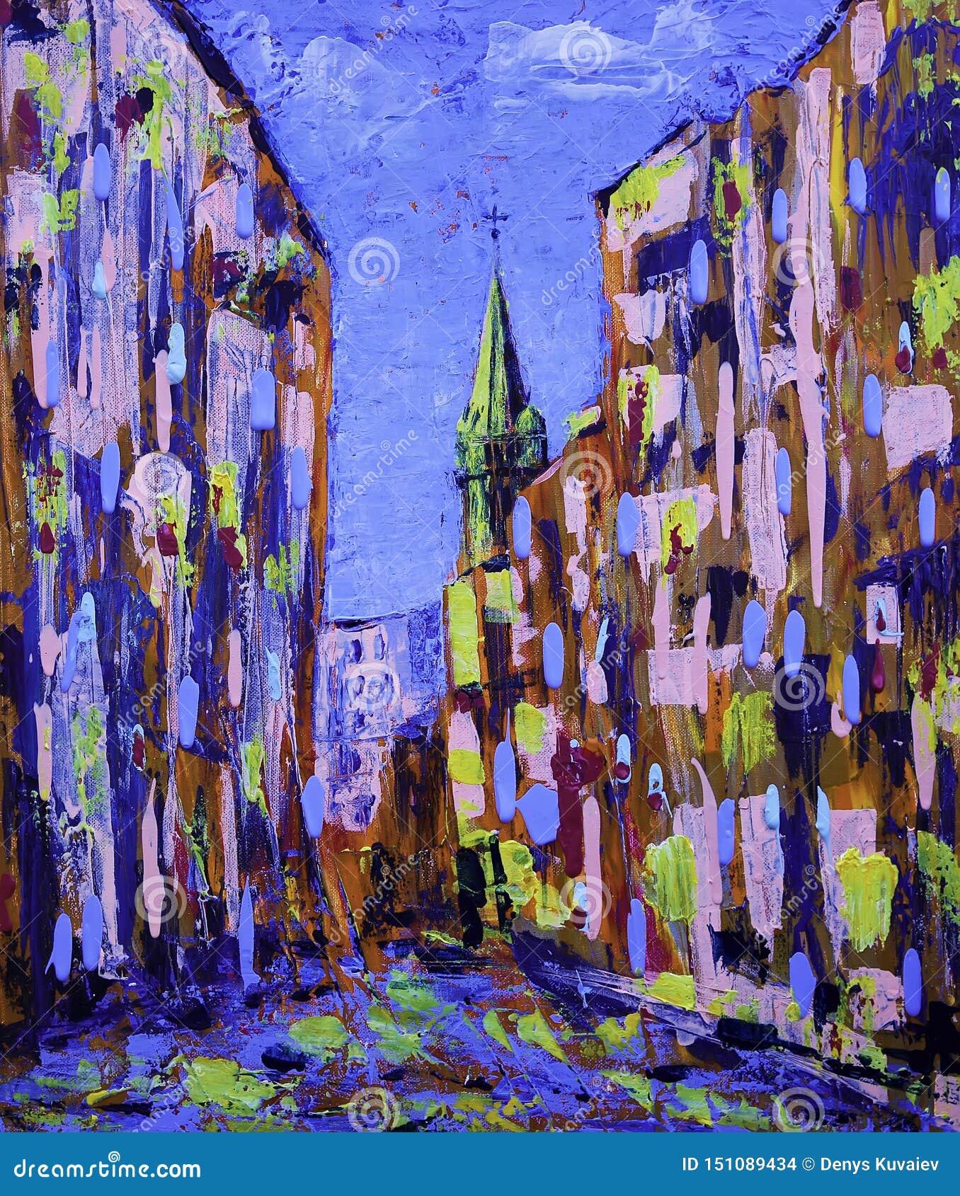 Pintura del arte de Absract de la calle vieja de la ciudad