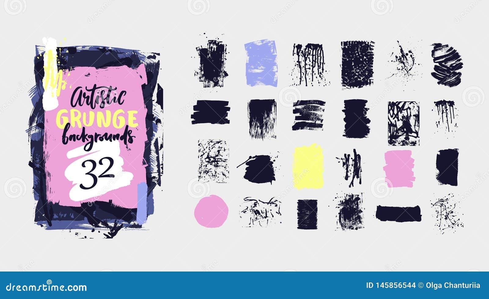 Pintura del negro del vector, movimiento del cepillo de la tinta, textura sucia del grunge Elemento artístico exhausto del diseño