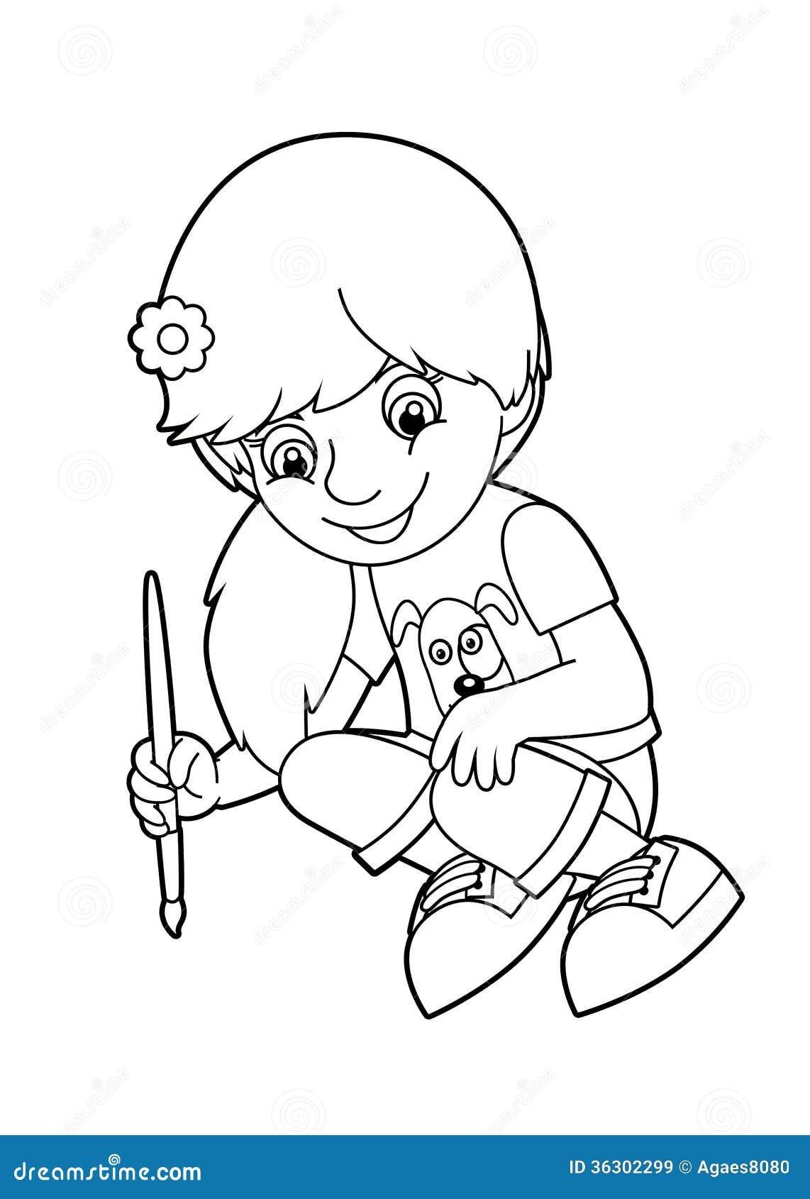 Pintura del niño stock de ilustración. Ilustración de ilustraciones ...