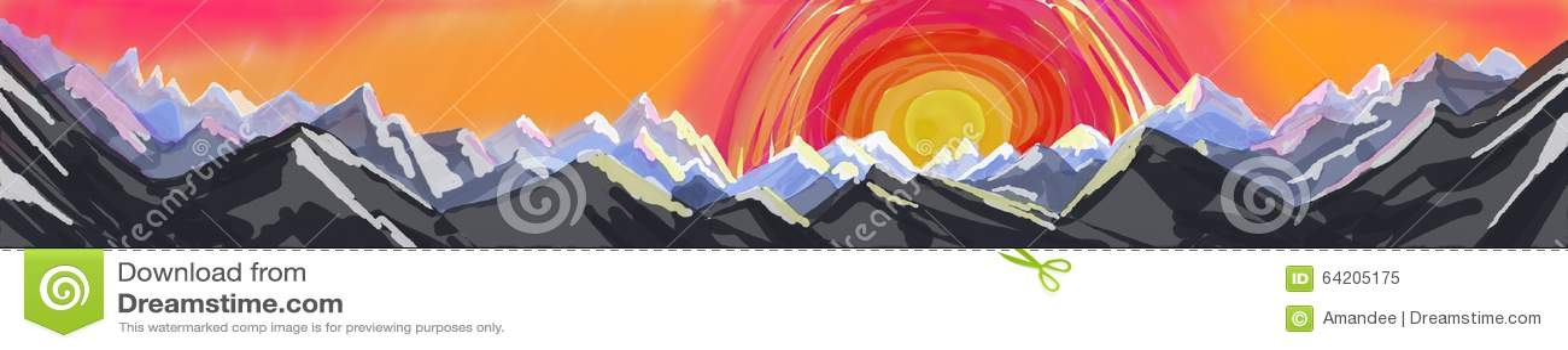 Pintura del panorama de la montaña, bandera del arte abstracto o jefe del paisaje de la montaña