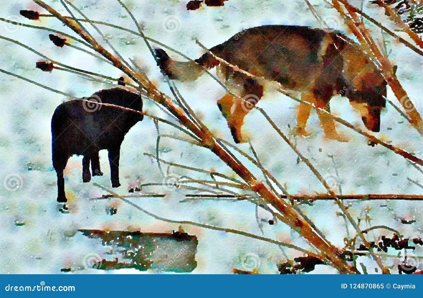 Pintura del Watercolour de dos perros caseros en la nieve