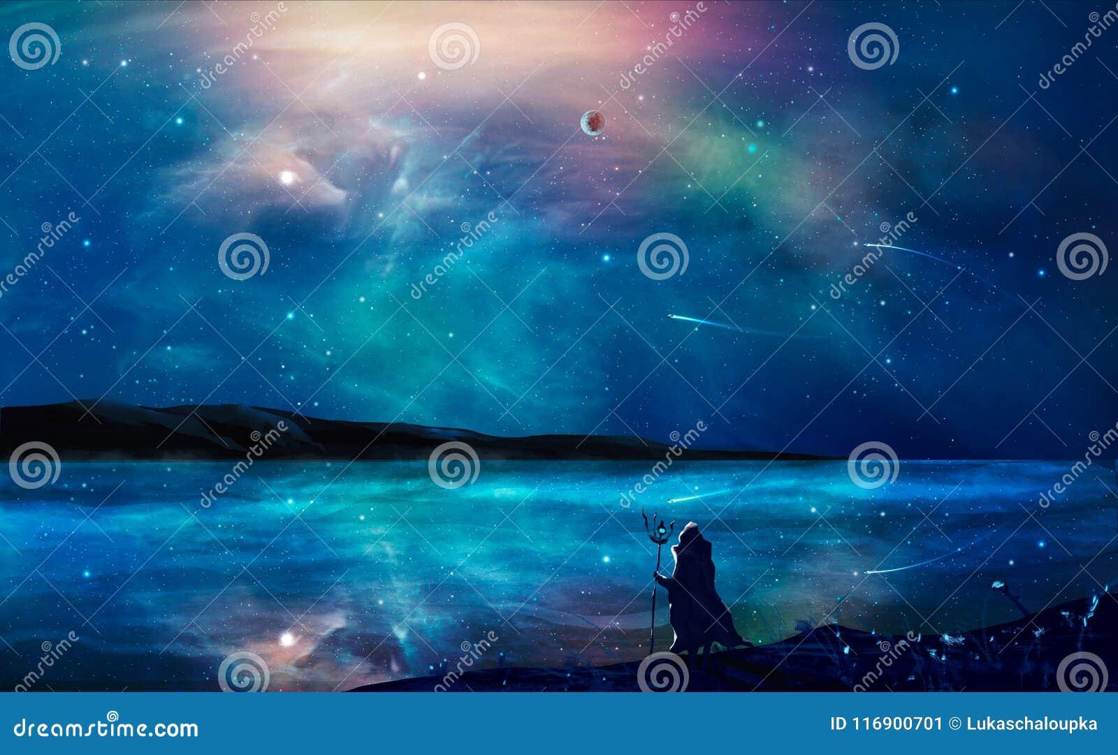 Pintura digital da paisagem da ficção científica com nebulosa, mágico, planeta,