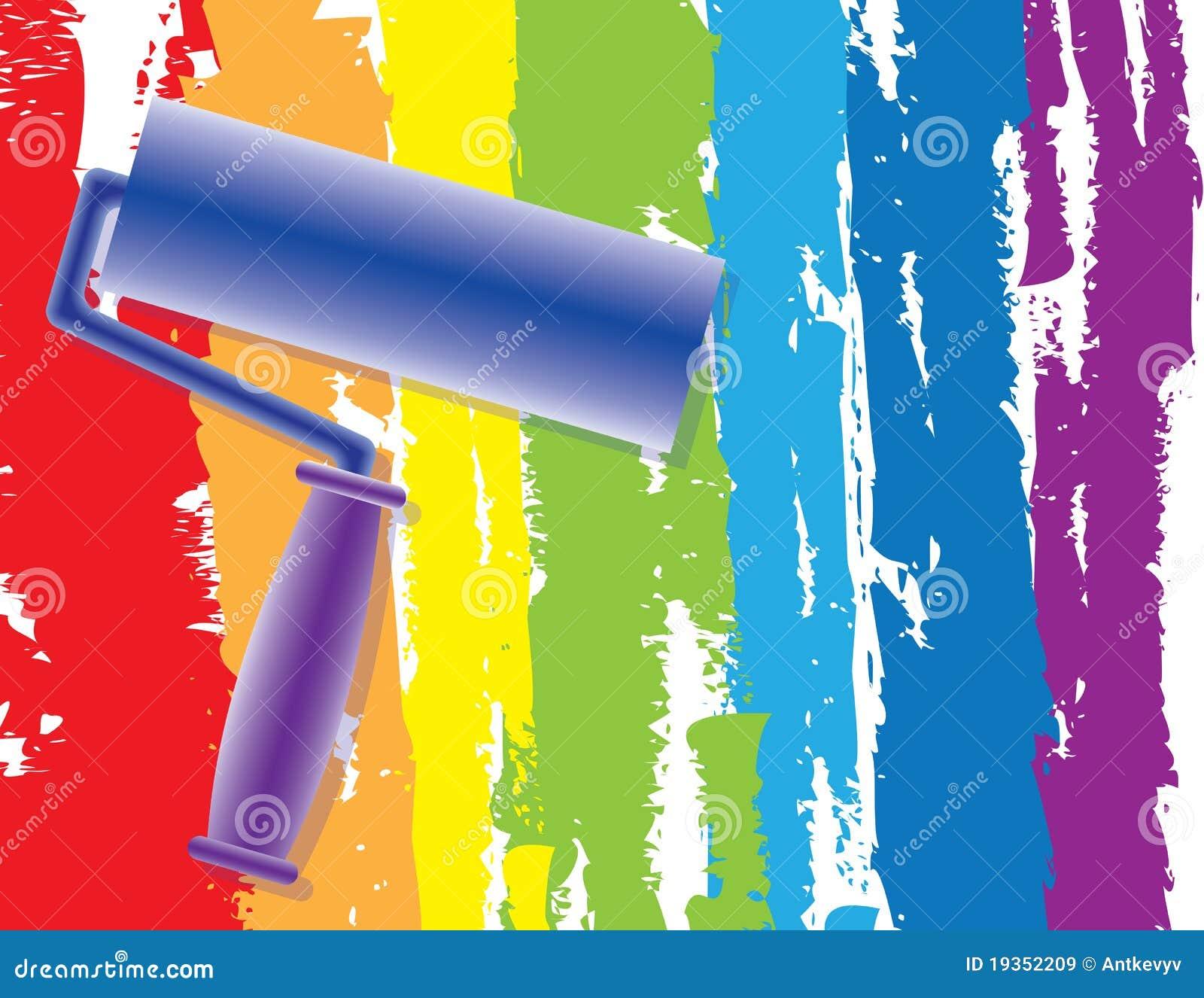 Pintura do arco-íris pelo rolo