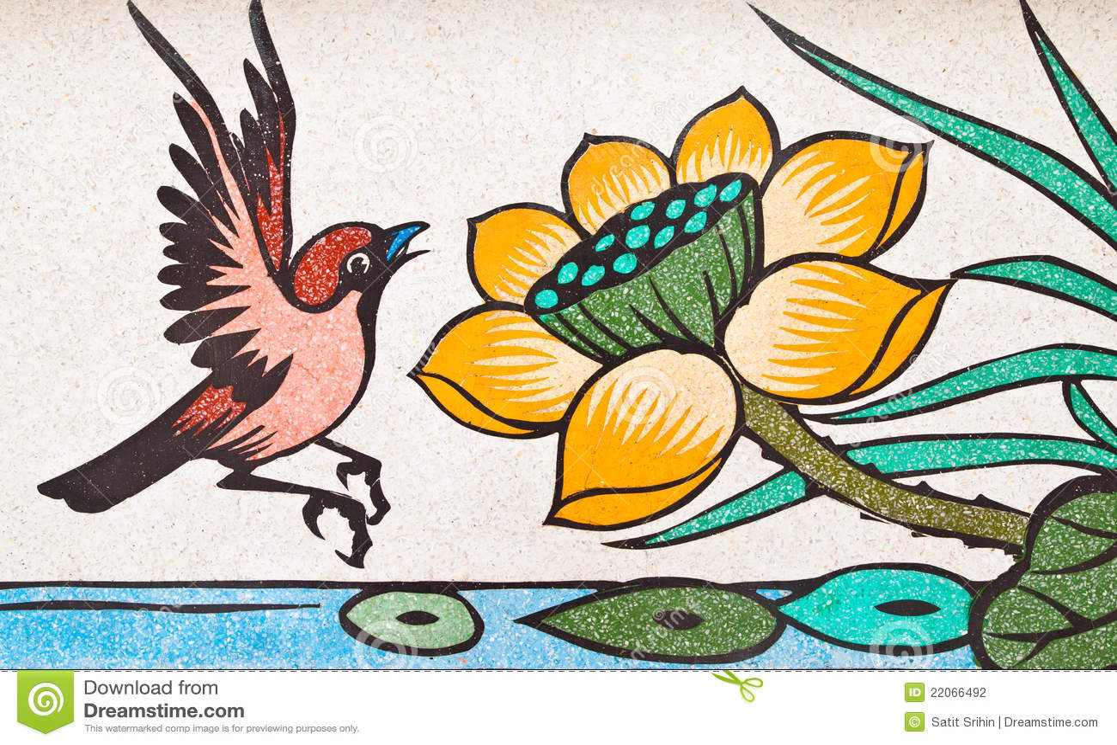 Pintura do estilo chinês da arte na parede de mármore