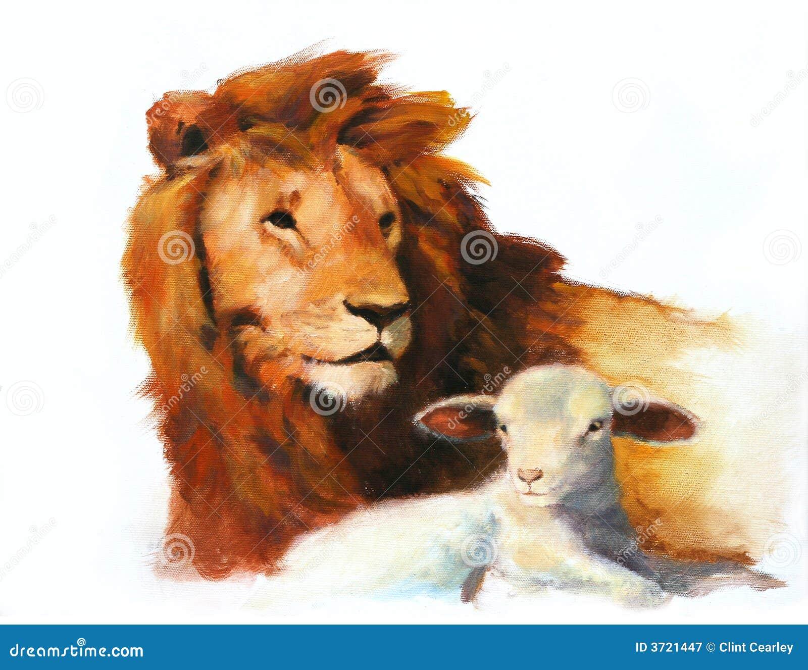Pintura do leão & do cordeiro