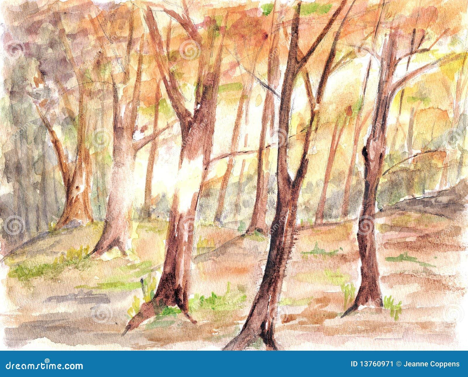 Pintura do watercolour da floresta.