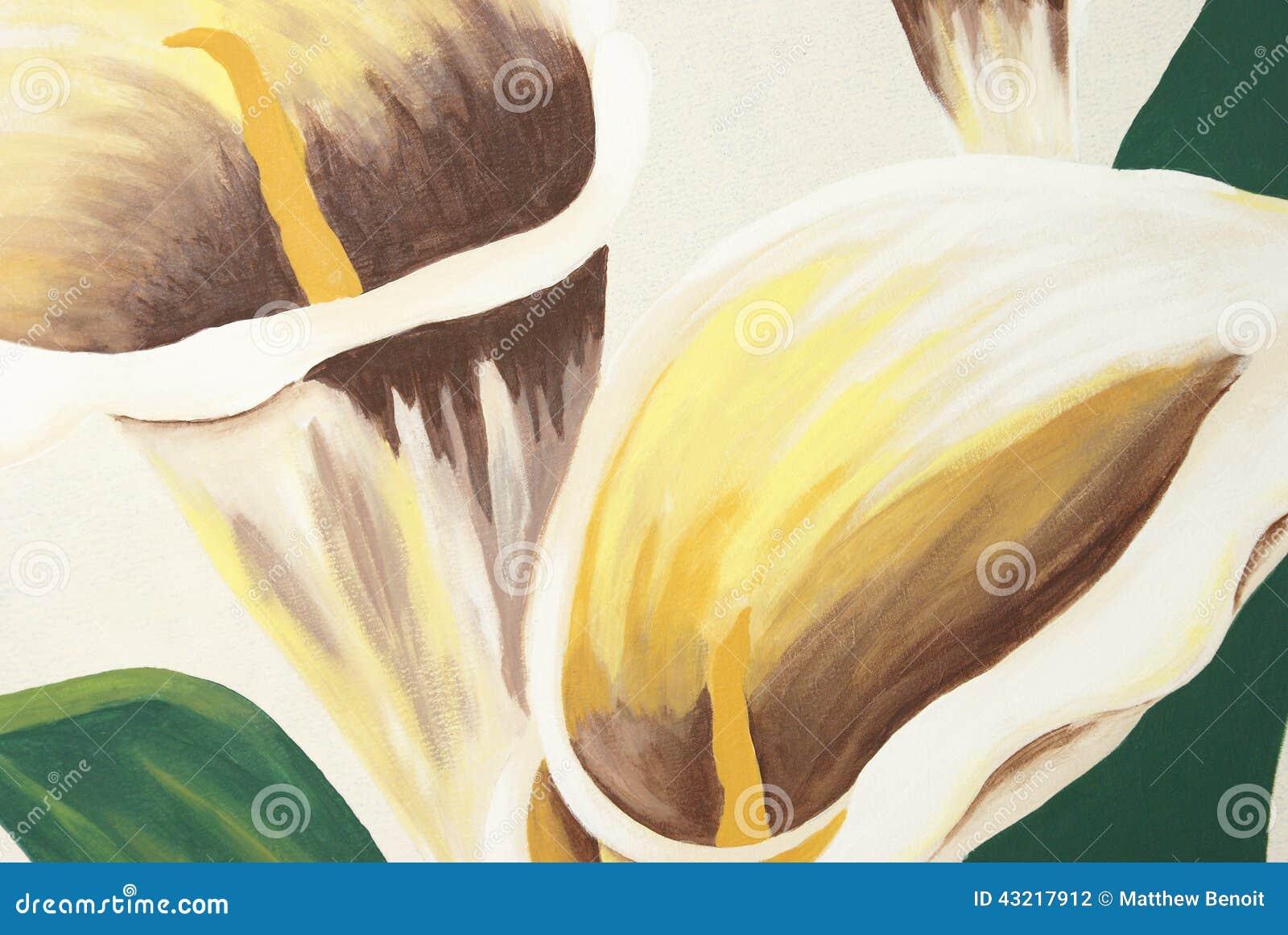 Pintura dos lírios de Calla