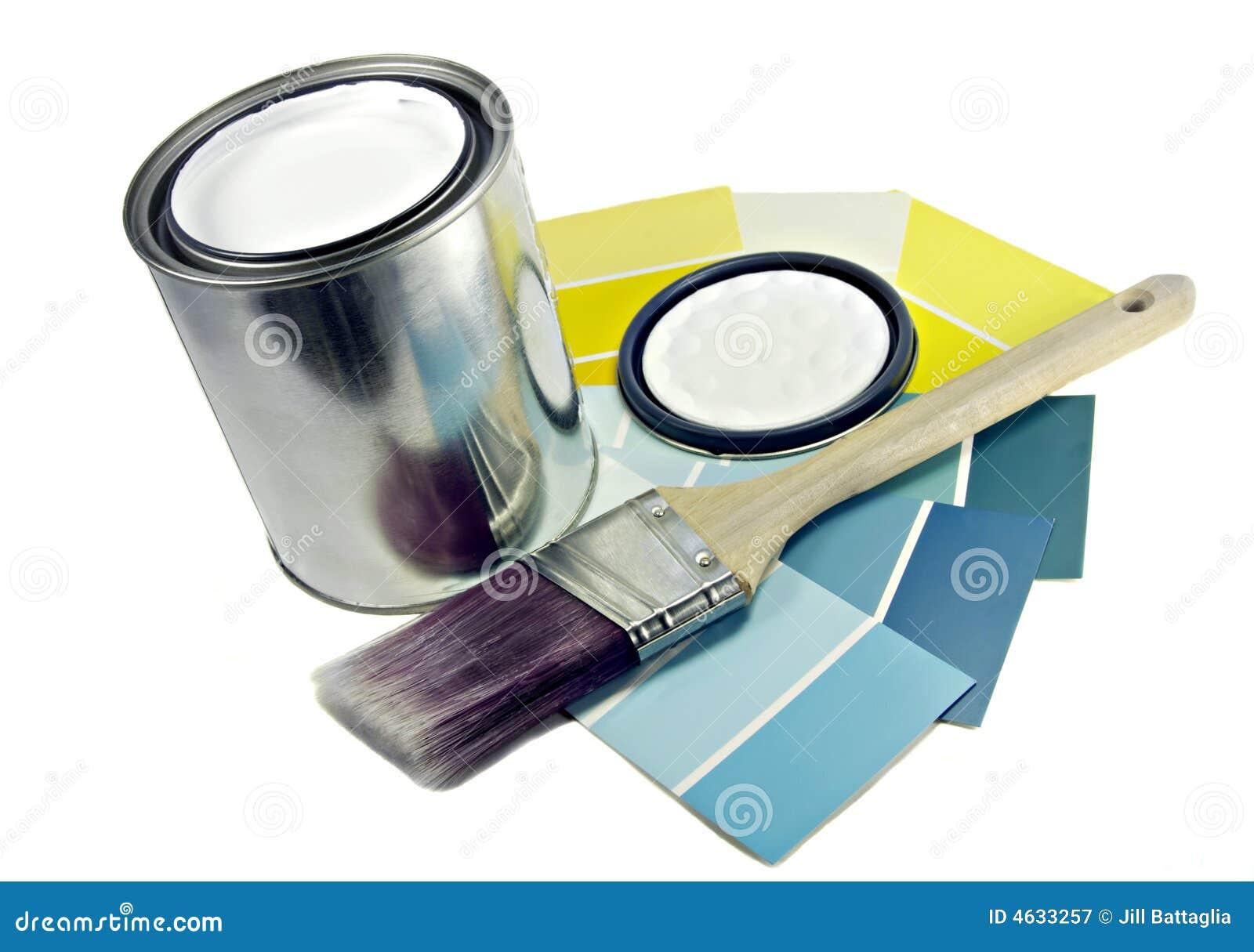 Pintura, escova e amostras da cor